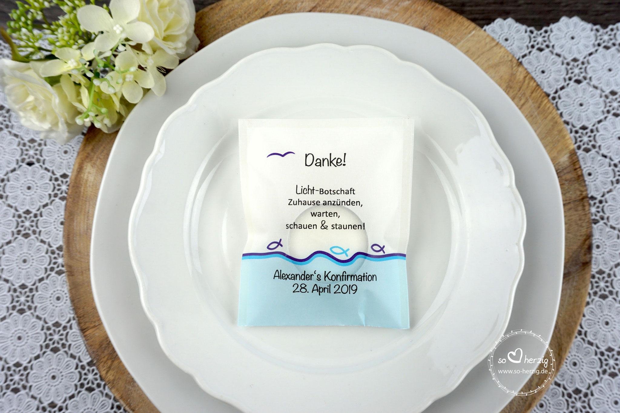 """Teelicht-Botschaft, Design """"Fisch Silhouette"""" -  Sonderwunsch - Rand unten Aqua"""