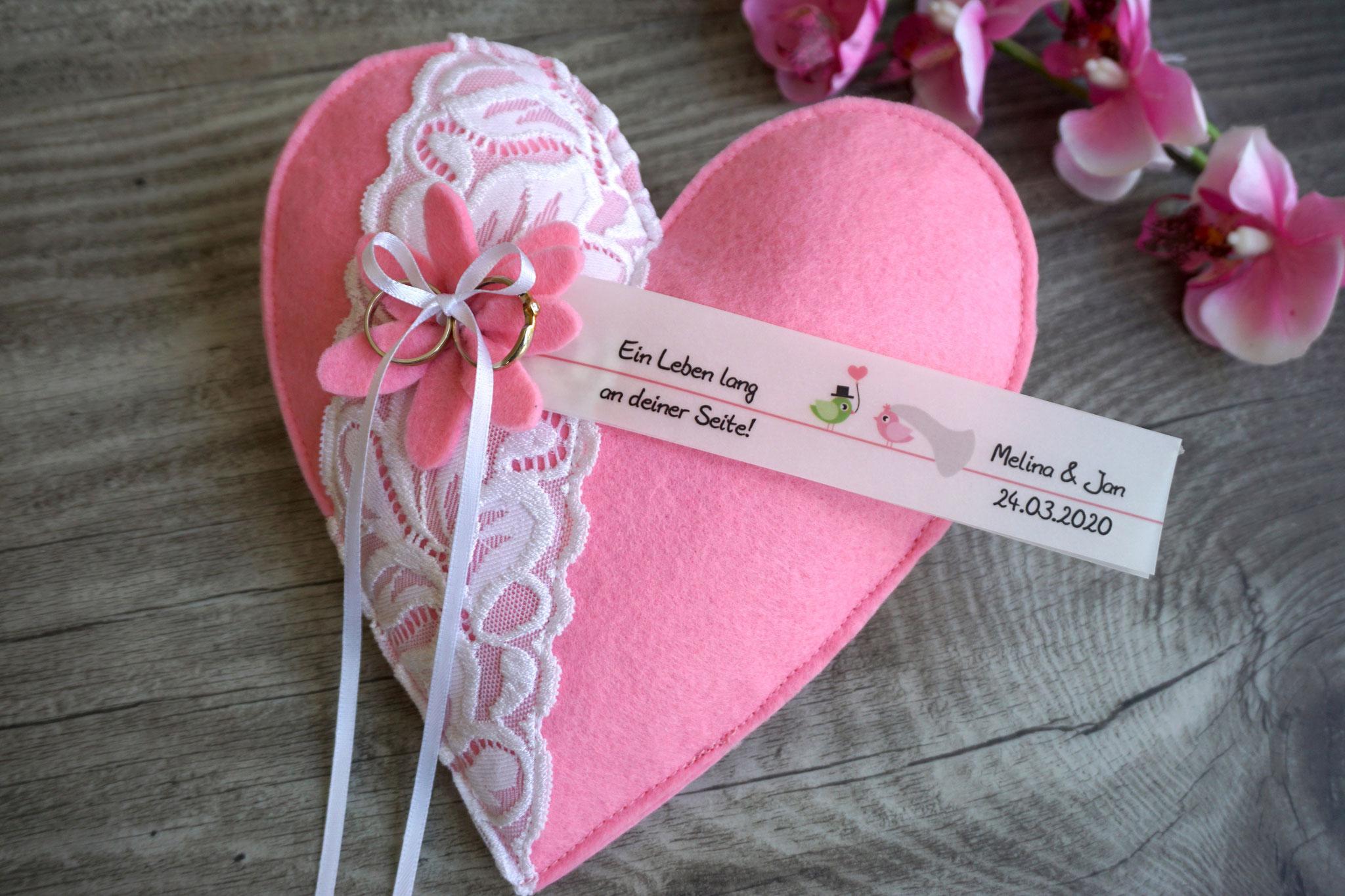Ringkissen Herz Filz Rosa - Design Hochzeitsvögel