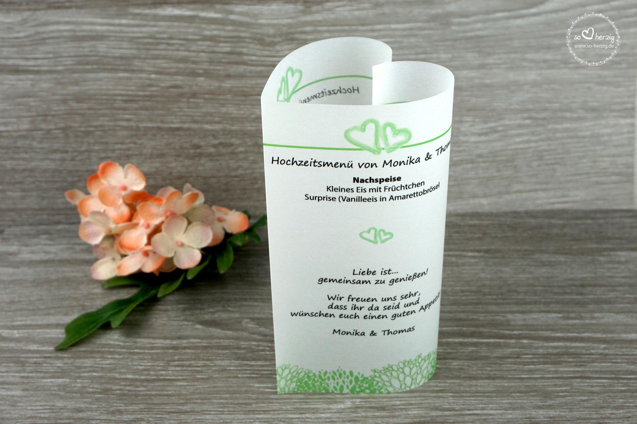"""Menükarte 17cm, Variante """"kleine Herzen"""", Apfelgrün, Schrift Segoe Print"""