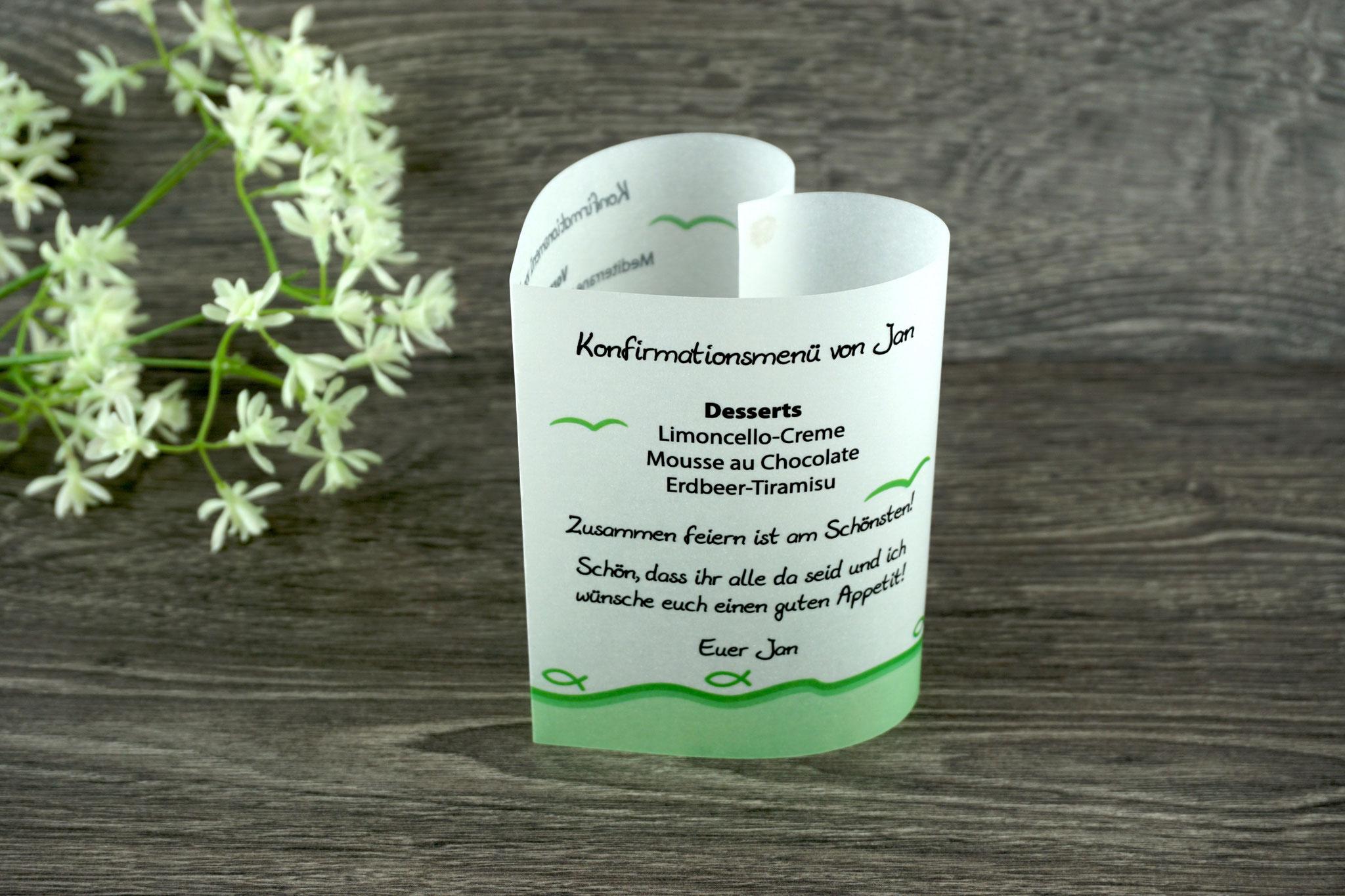 Menükarte Herzform 10,5cm, Design Fisch Silhouette Apfelgrün