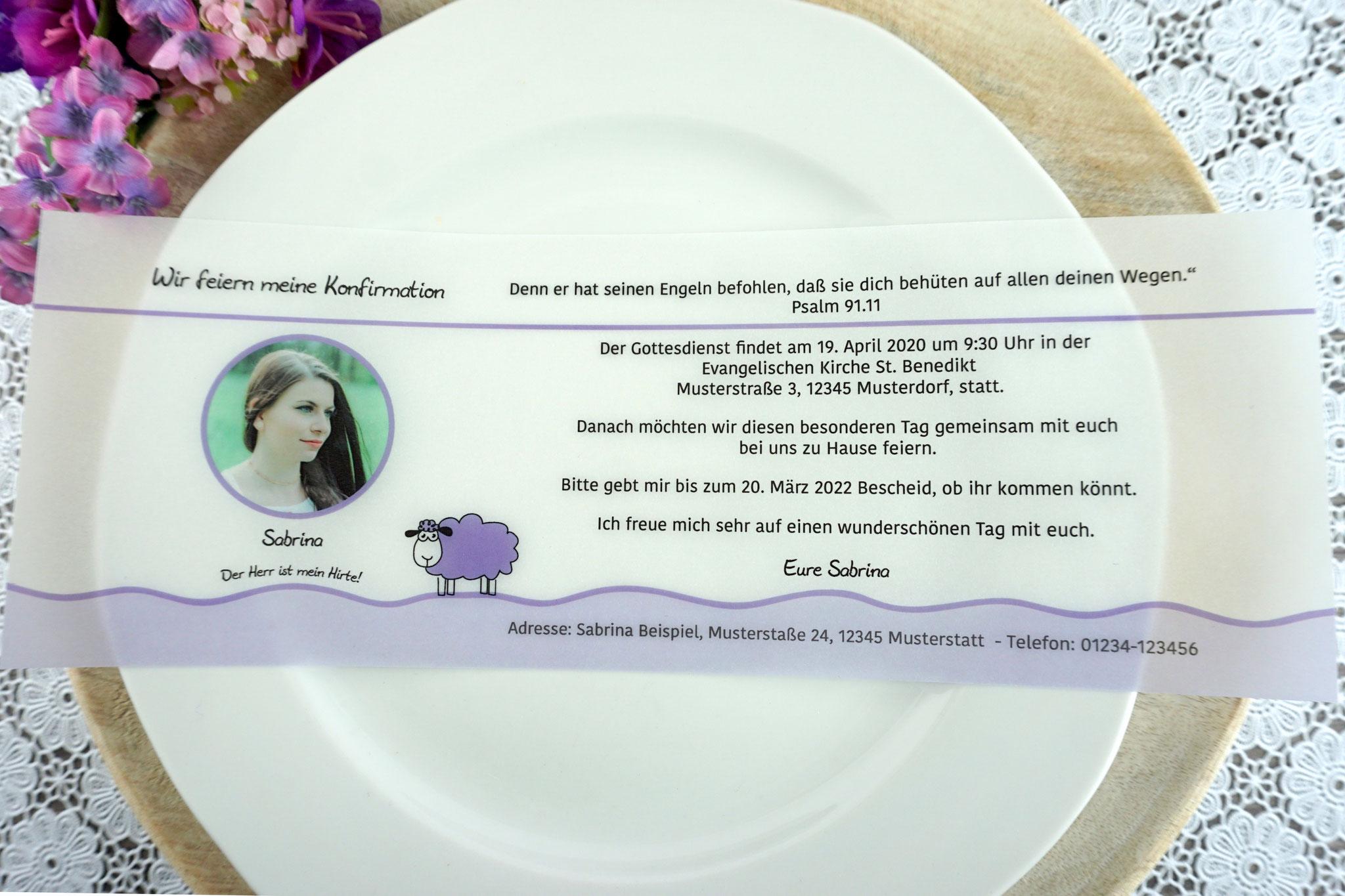 Einladungskarte aus Pergamentpapier Design Schaf flieder - mit Bild