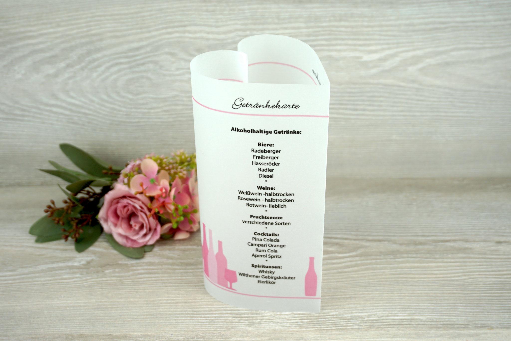 Getränkekarte Herzform 17cm, Farbe Rosa, Schrift Bickley Script Com