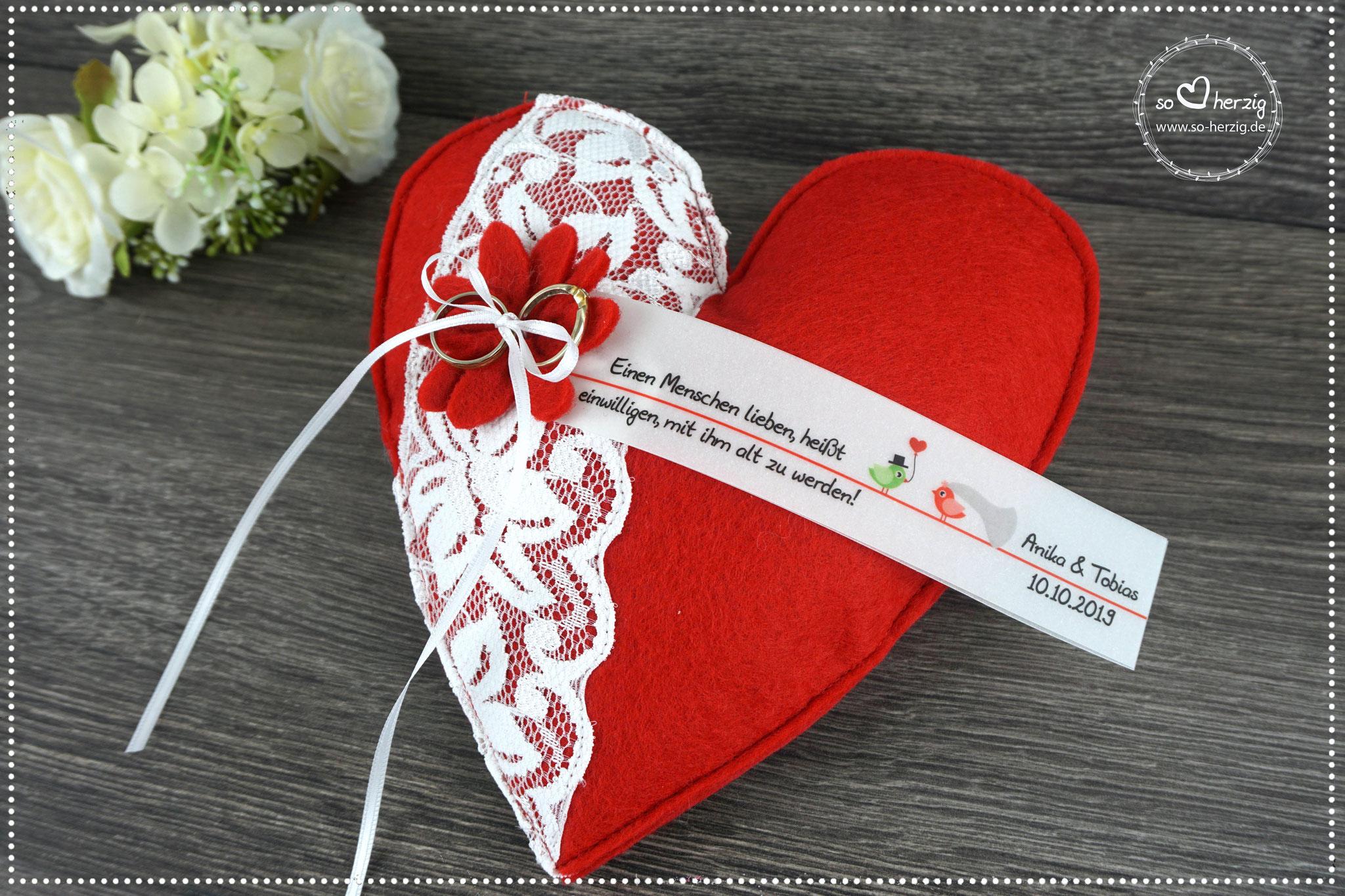 Ringkissen Herz Filz rot - Design Hochzeitsvögel