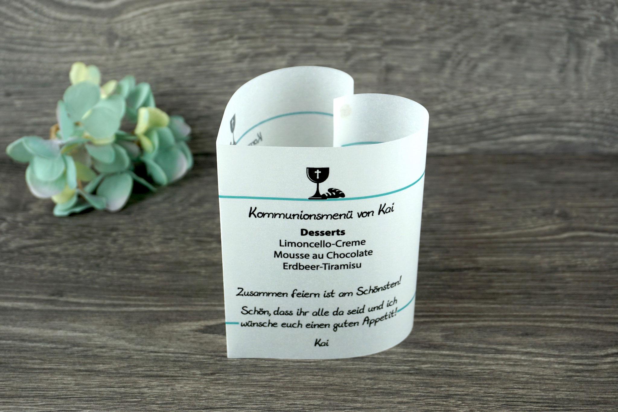 Menükarte Design Kelch/Brot, Farbe Türkis