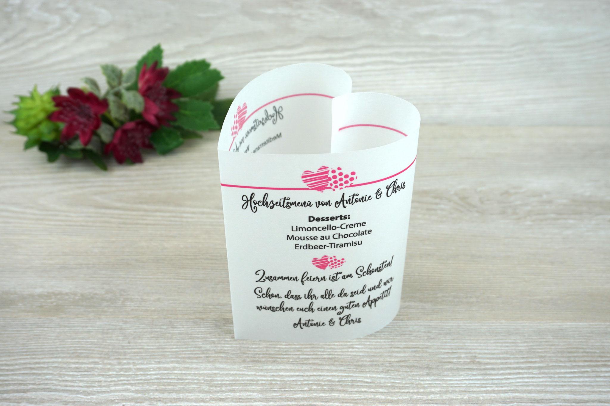 "Menükarte ""Herzform"" Design zwei Herzen, Farbe Pink Schrift Camellia"