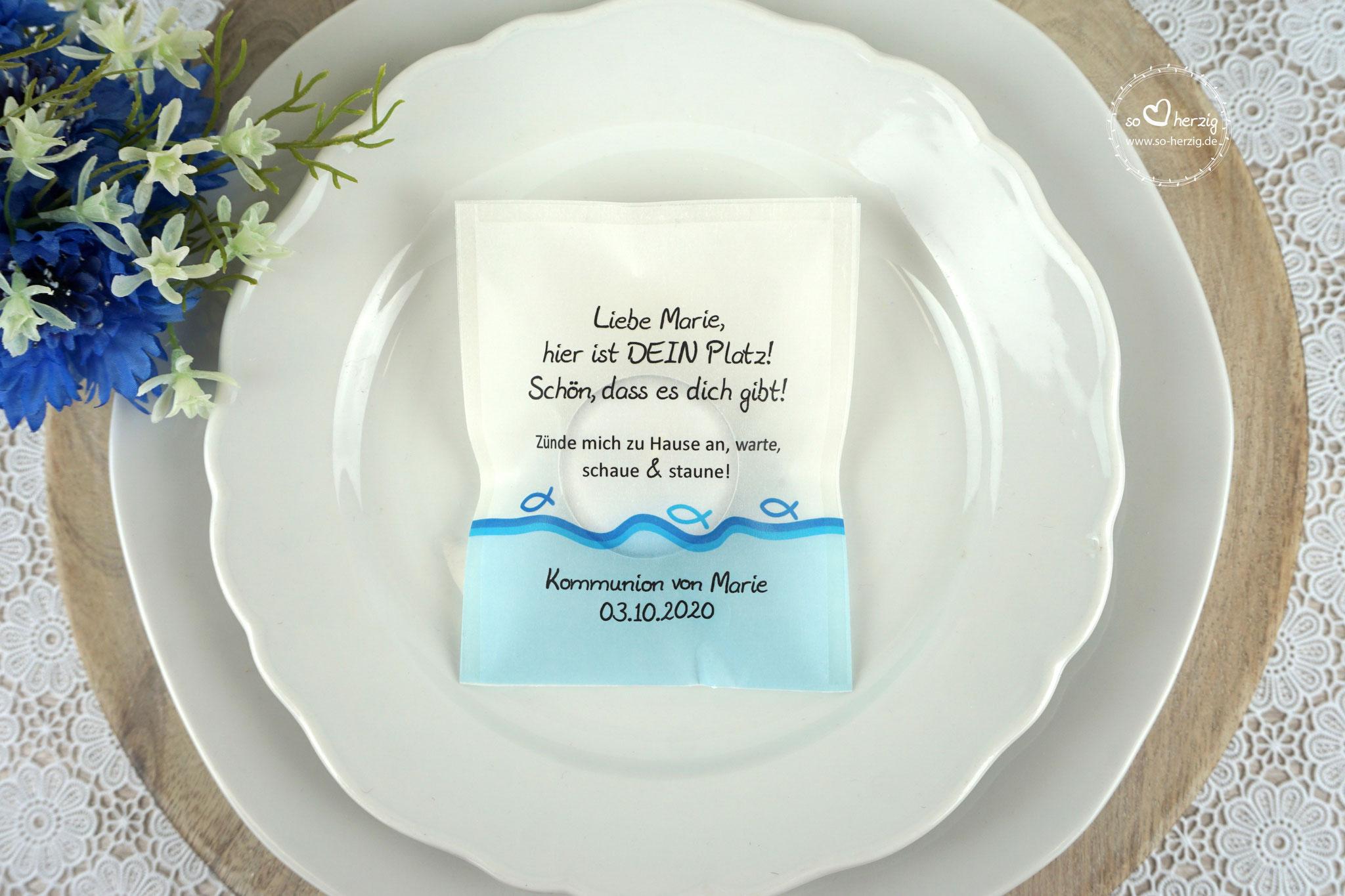 """Licht-Botschaft """"Verpackung als Platzkarte"""",  Design """"Fisch Silhouette"""" Blau"""