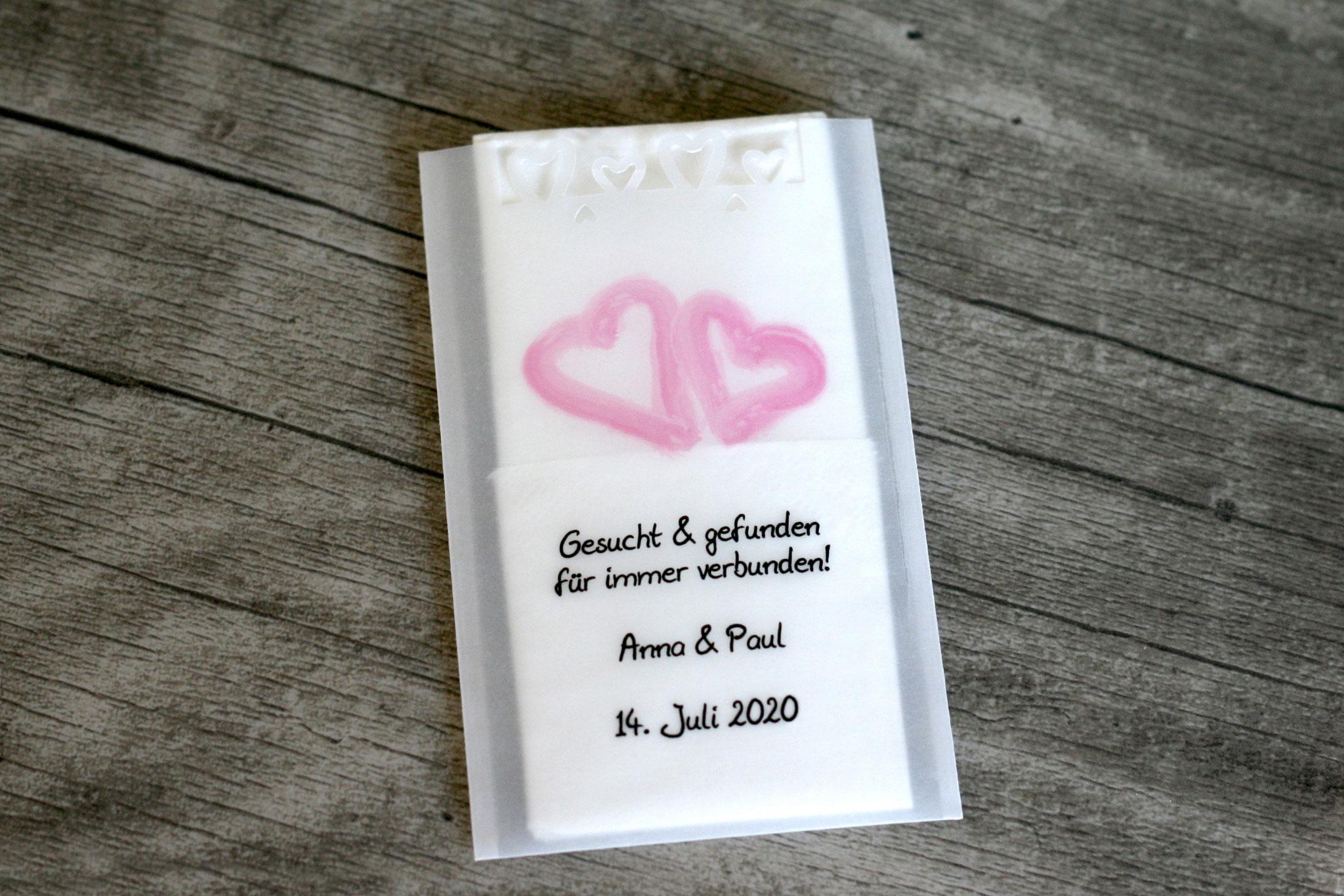 Freudentränen Taschentücher Design Aquarellherzen Rosa mit Herzrand