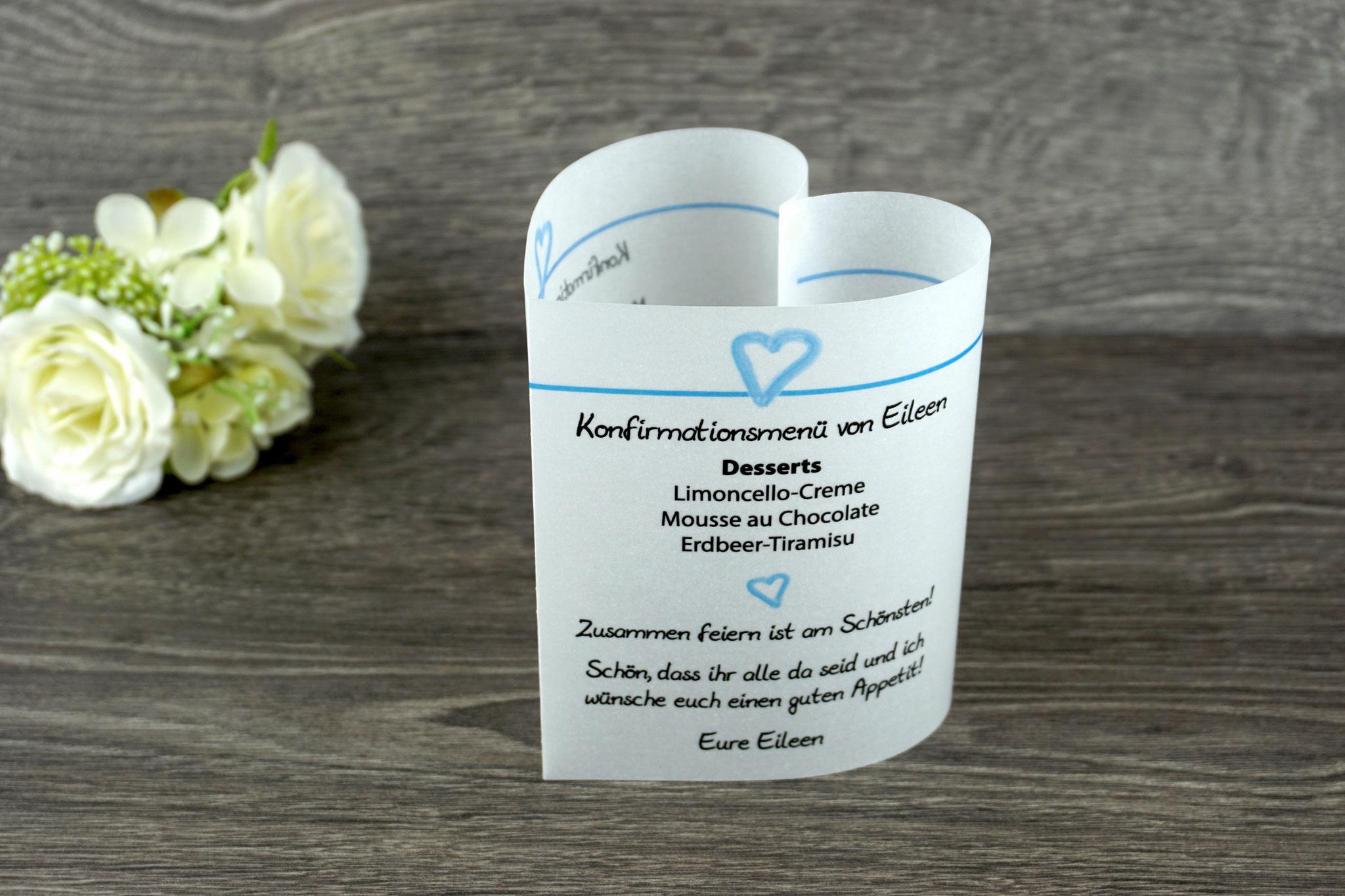 Menükarte Herzform 10,5cm, Design Aquarellherz Blau