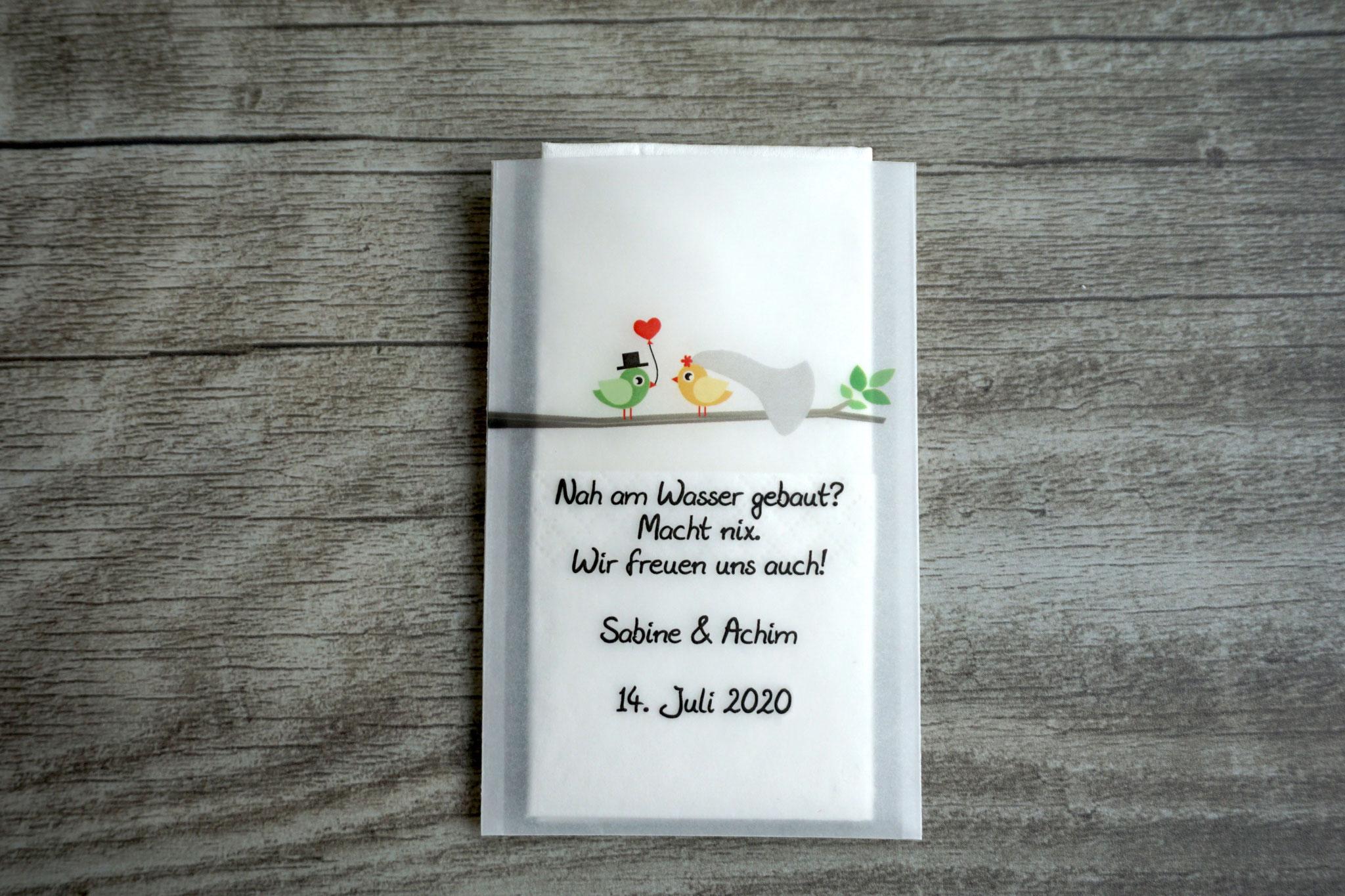 Freudentränen Taschentücher Design Hochzeitsvögel auf Ast, Farbe Gelb/Grün