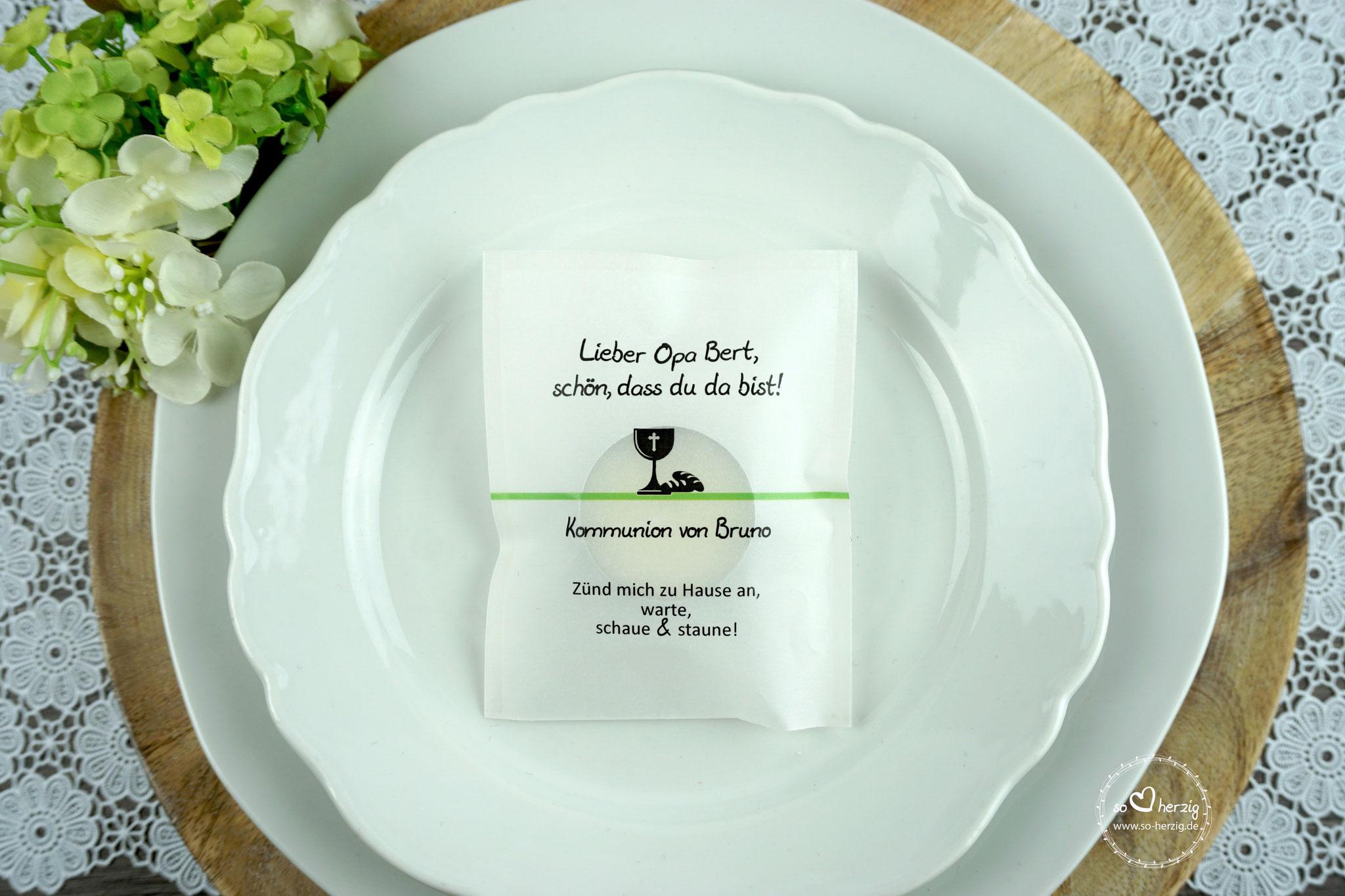 "Licht-Botschaft  Design Kelch/Brot ""Verpackung als Platzkarte"", Apfelgrün"