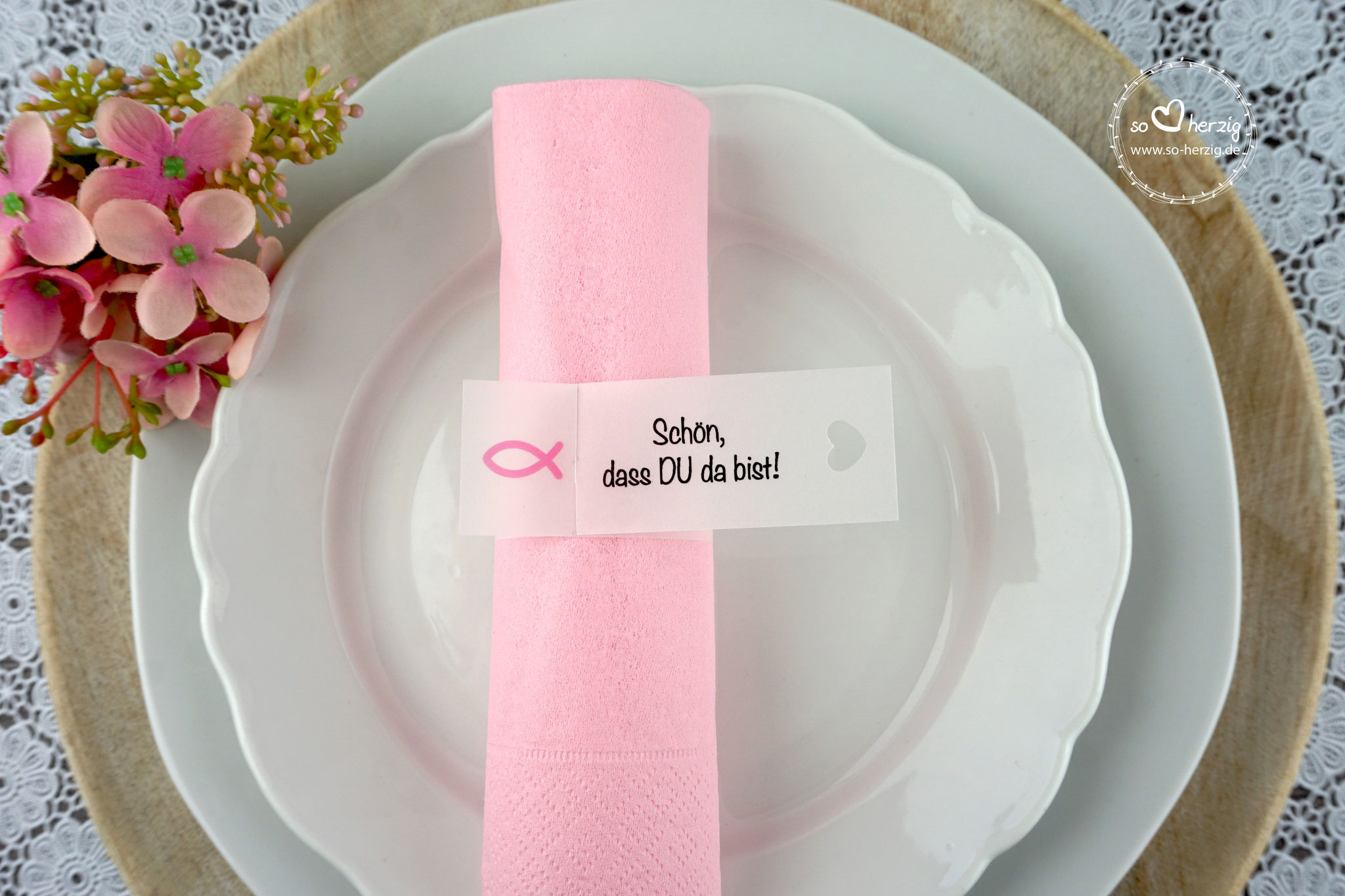 Serviettenring Design Fisch Silhouette, Farbe Rosa, Randabschluss Herz