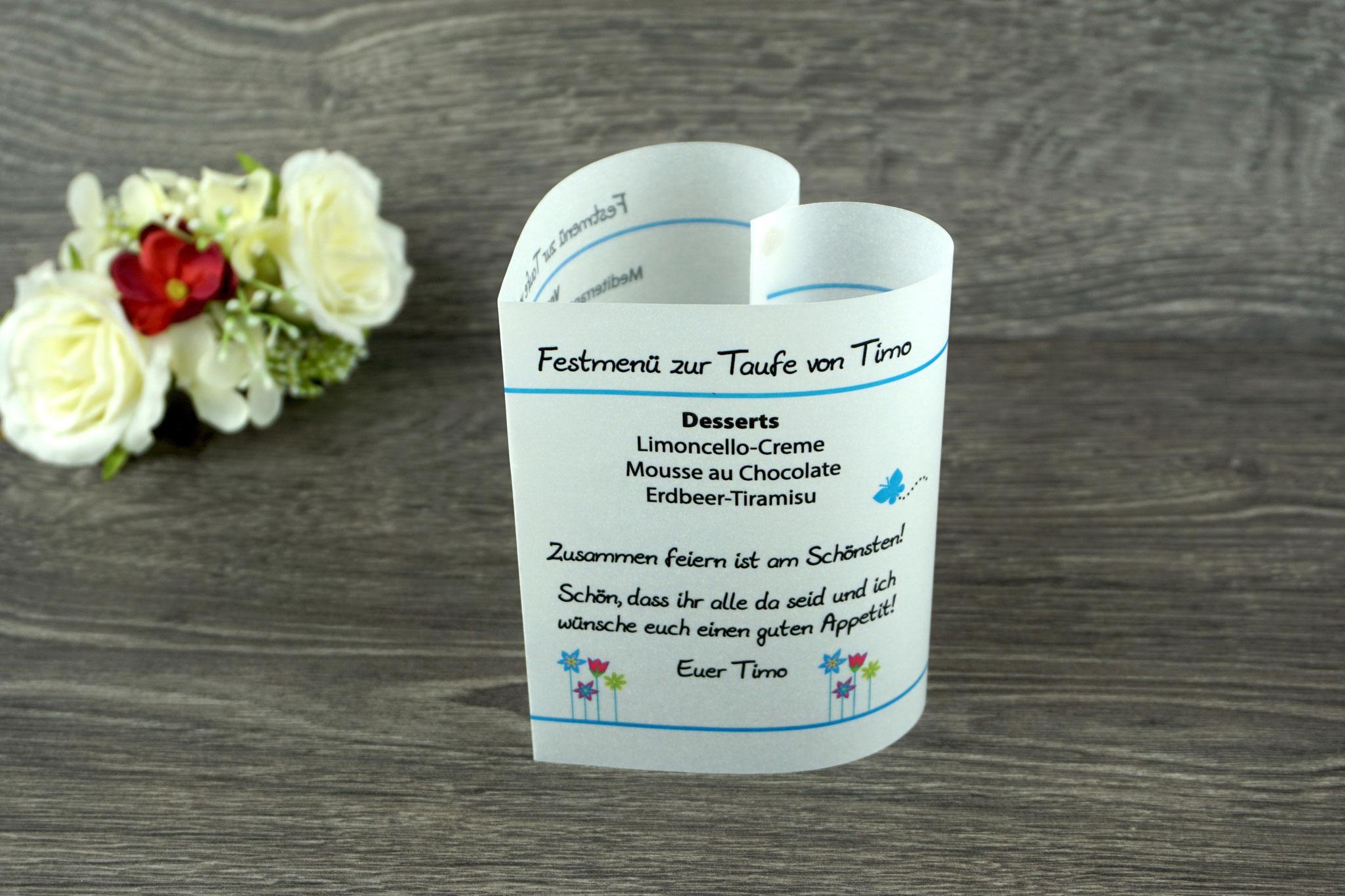 Menükarte Taufe 10,5cm, Design Blumenwiese, Farbe Blau