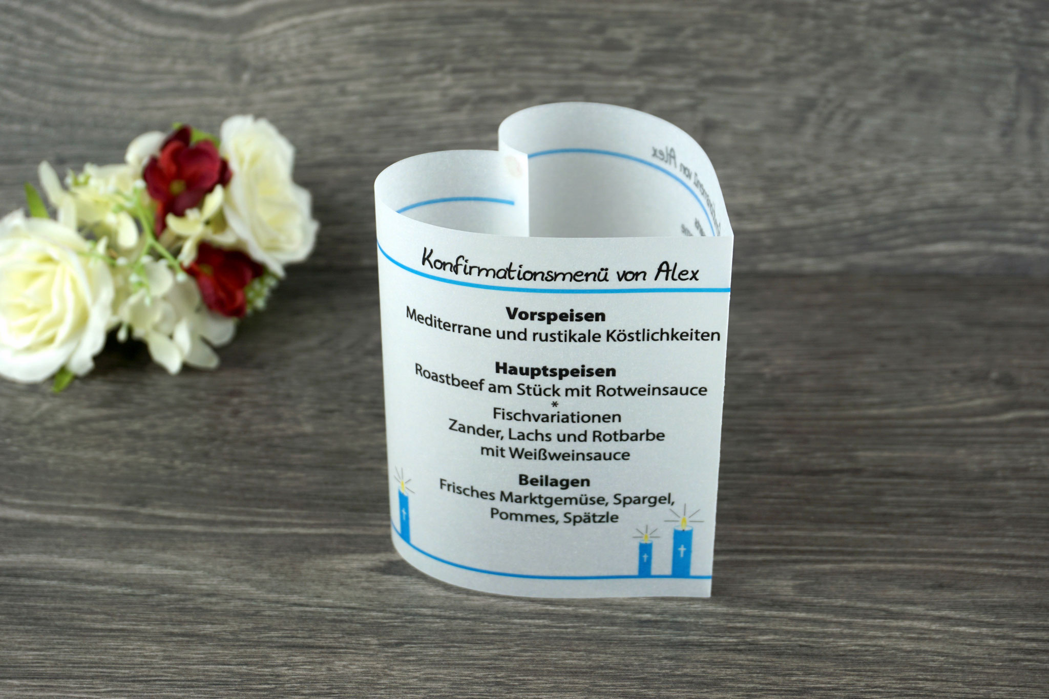 Menükarte Herzform Design Kerzen, Farbe Aqua