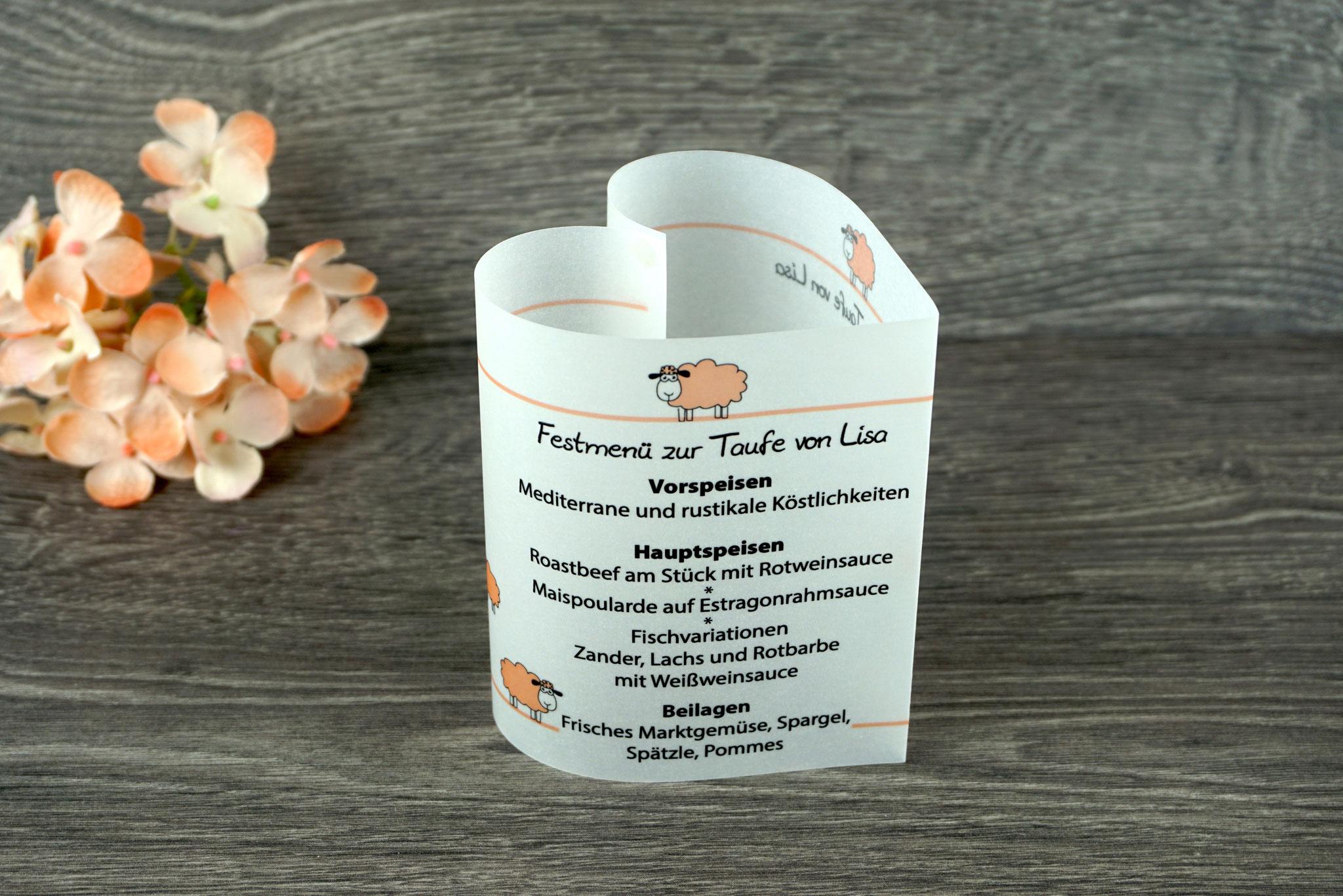 Menükarte Taufe 10,5cm, Design Schaf, Farbe Apricot