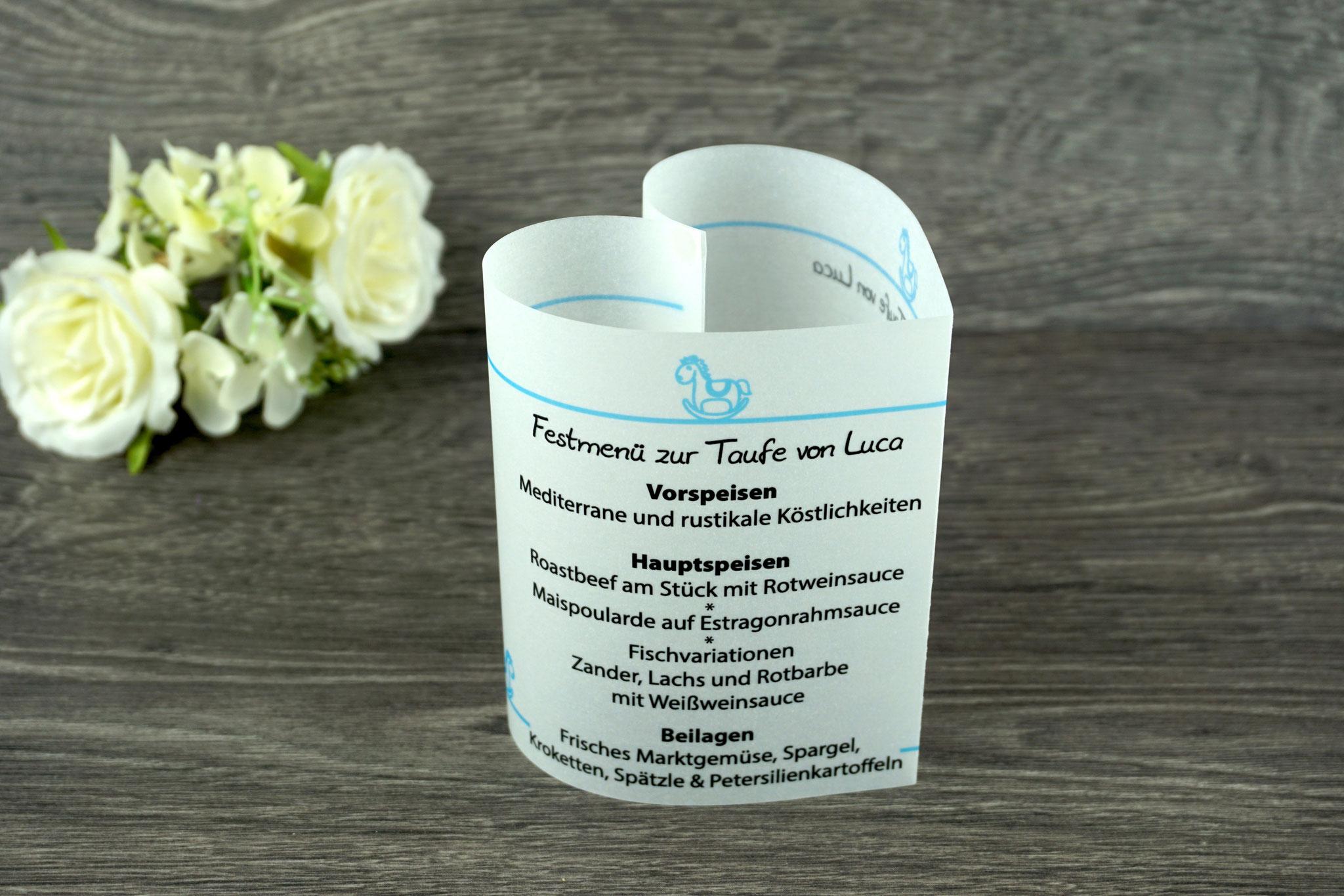 Menükarte Taufe 10,5cm, Design Schaukelpferd, Farbe Hellblau