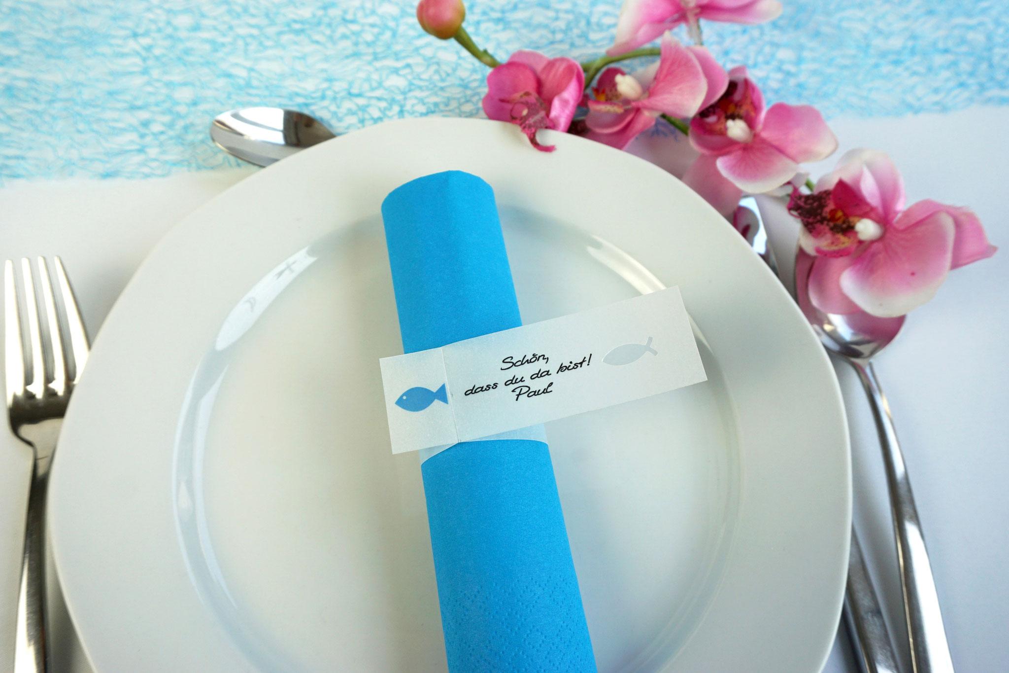 Serviettenring Design Fisch, Farbe Aqua, Randabschluss Fisch