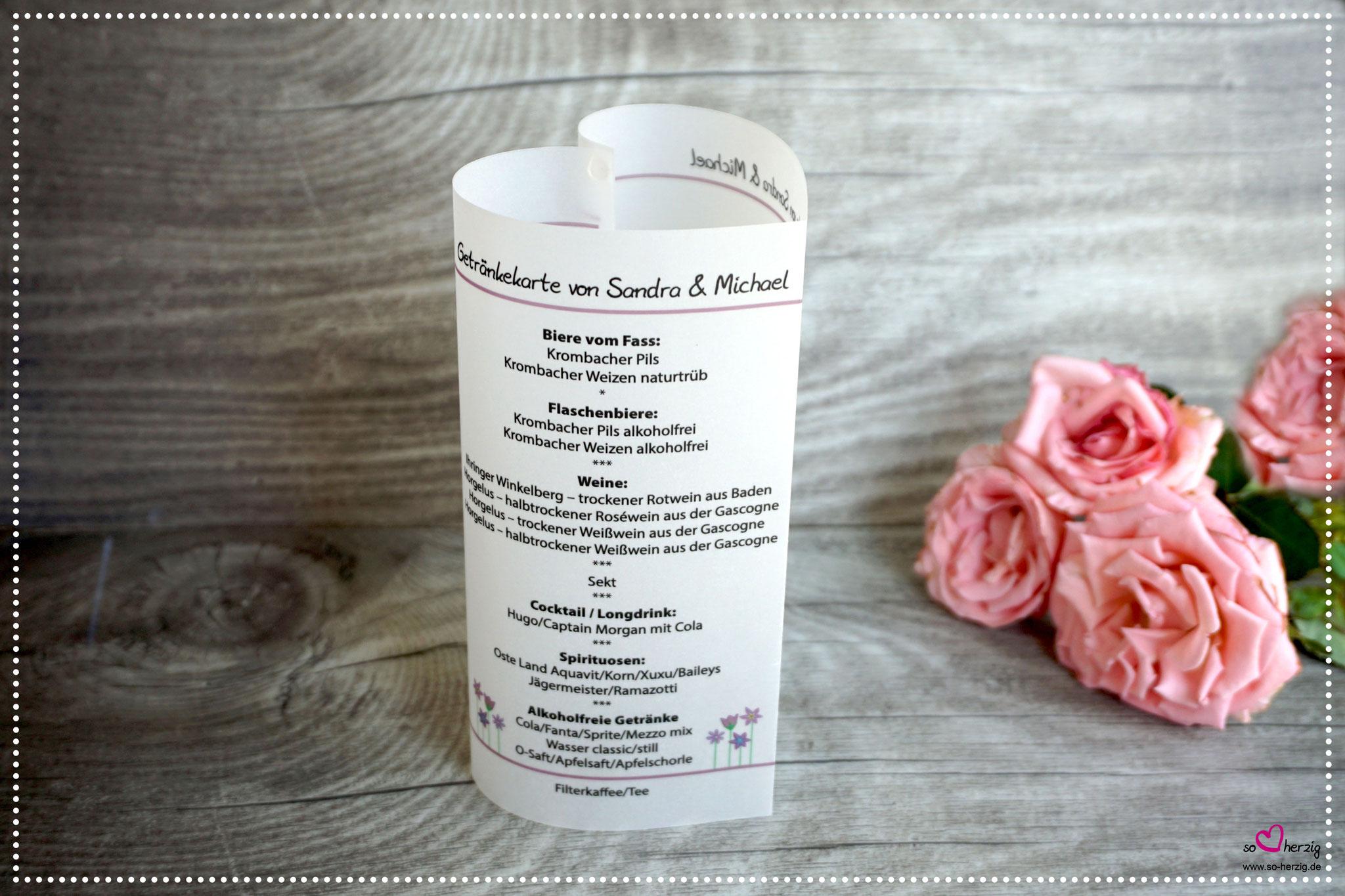 Menükarte Herz 17cm, Design Blumenwiese, Farbe Rosenholz, Schrift Julius Thyssen