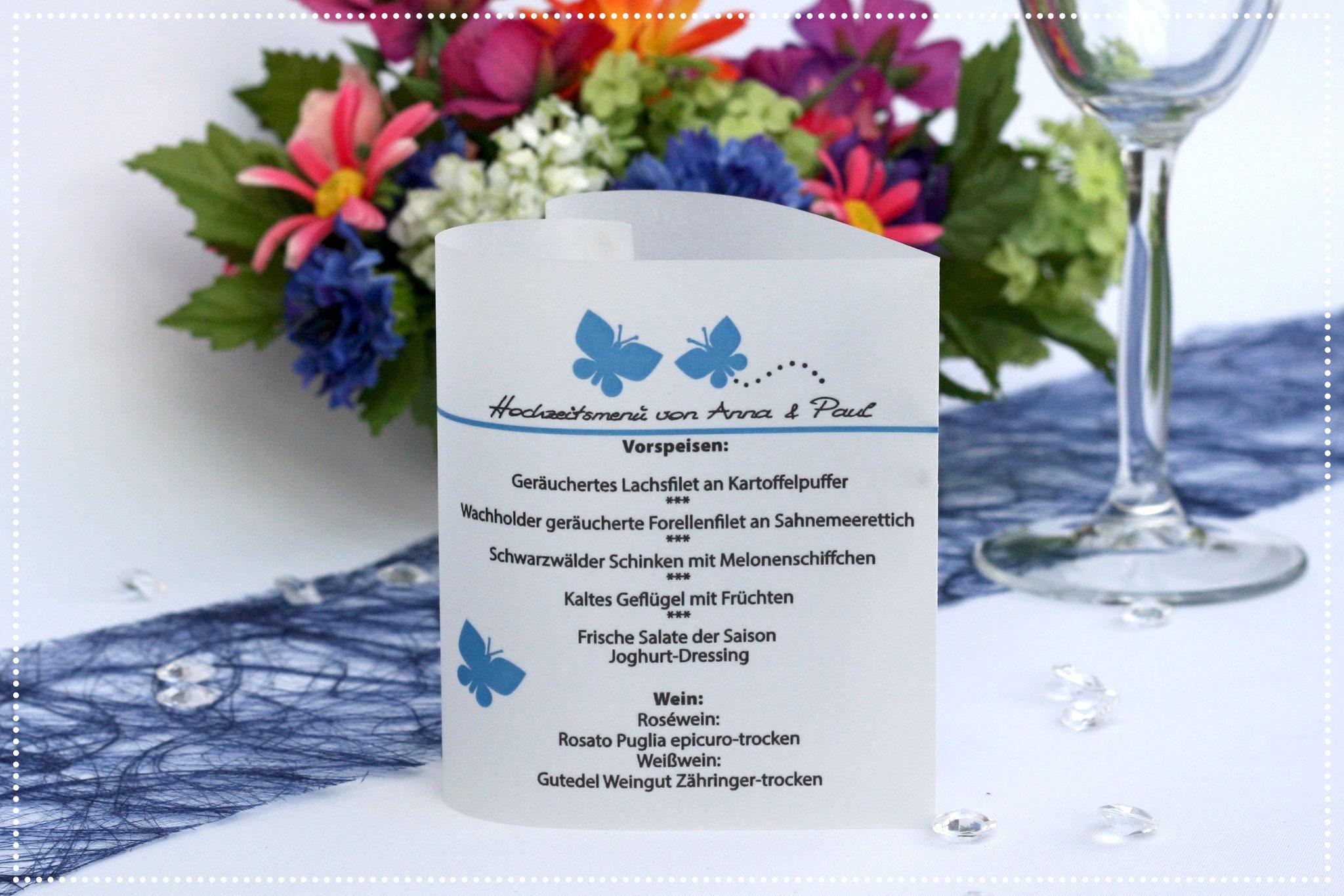 Menükarte Herzform 10,5cm, Design Schmetterlinge Dunkelblau