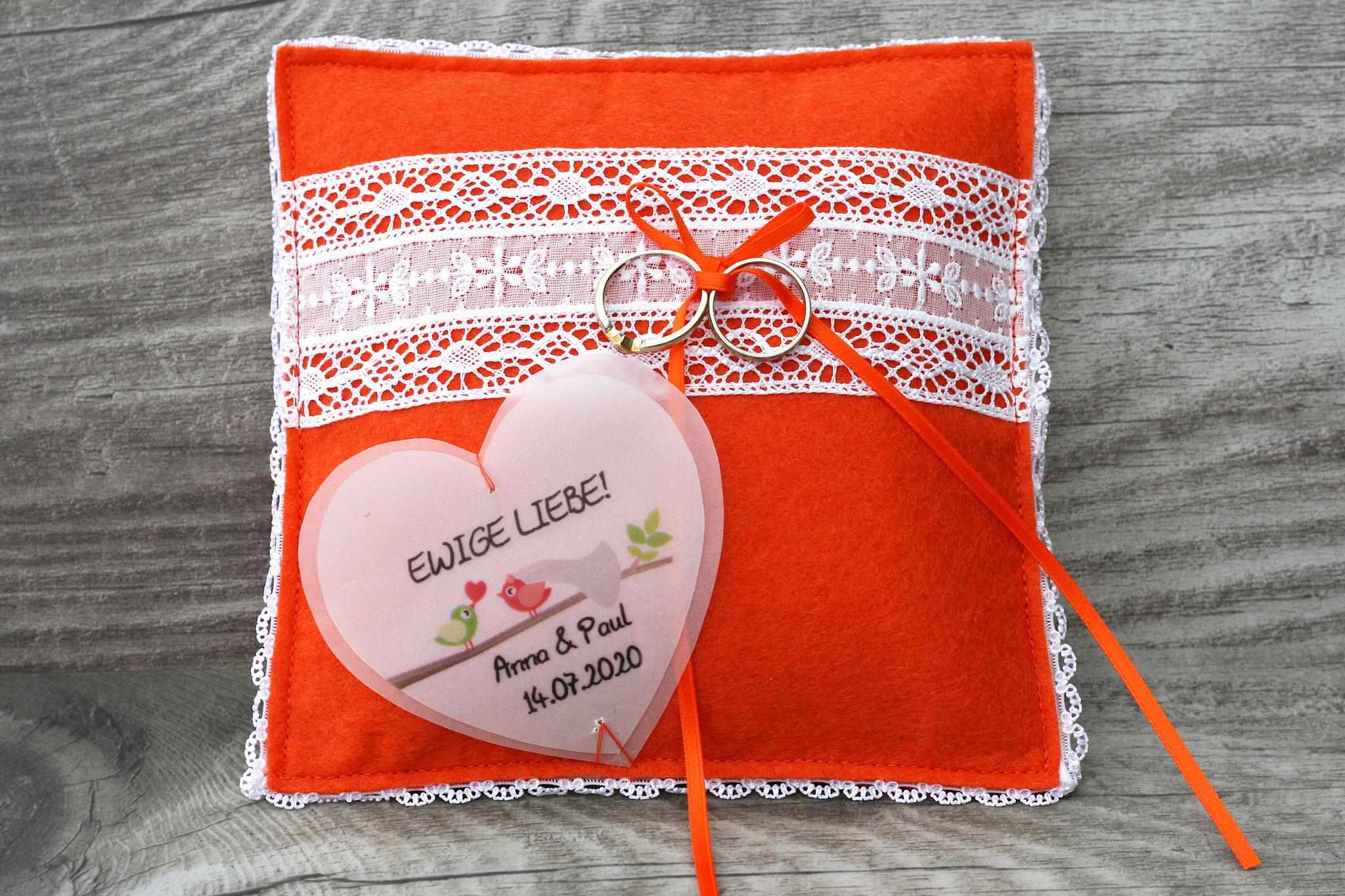 Ringkissen Laura, Filz Orange - Sonderanfertigung