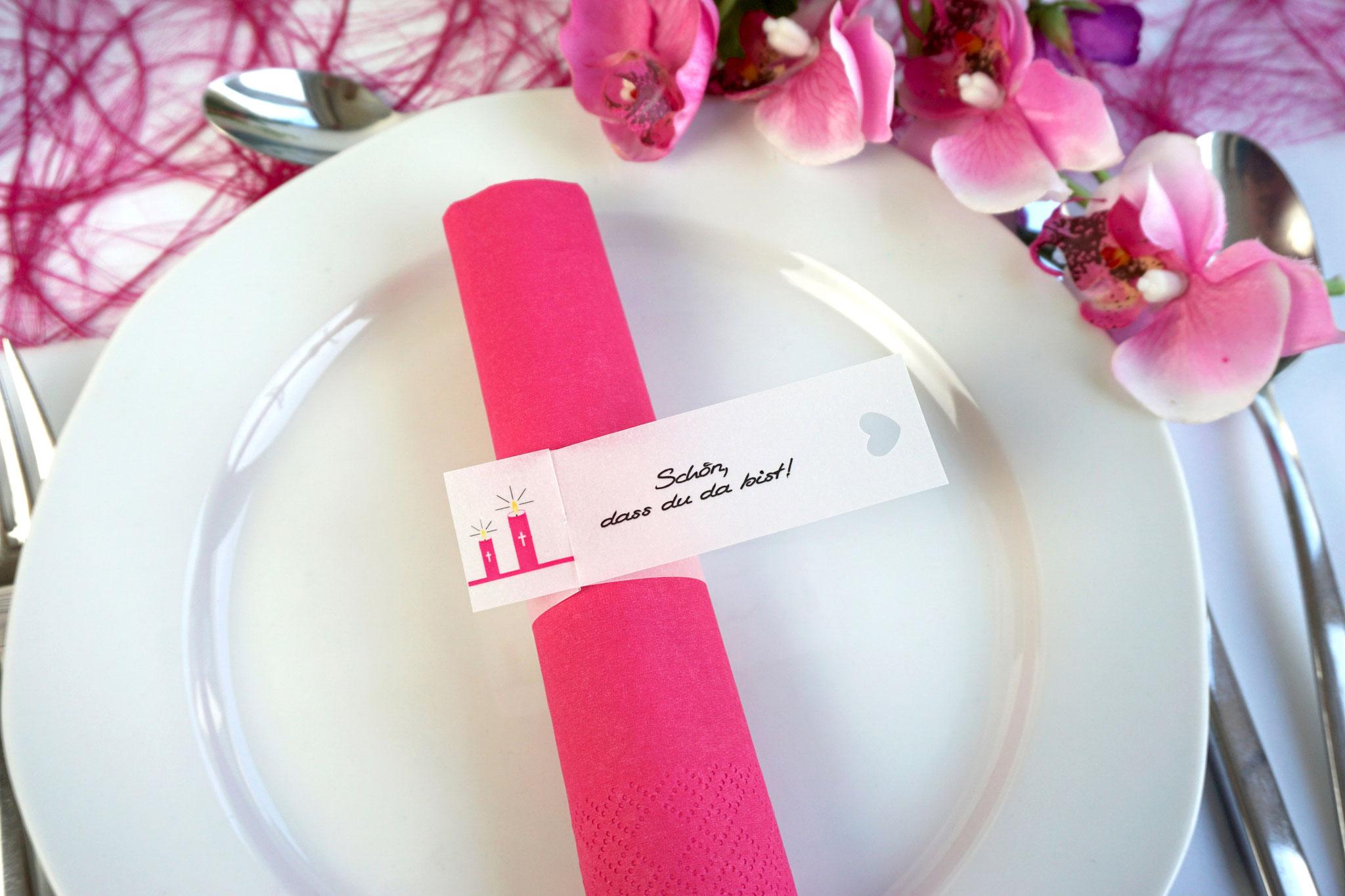 Serviettenring Design Kerzen, Farbe Pink, Randabschluss Herz