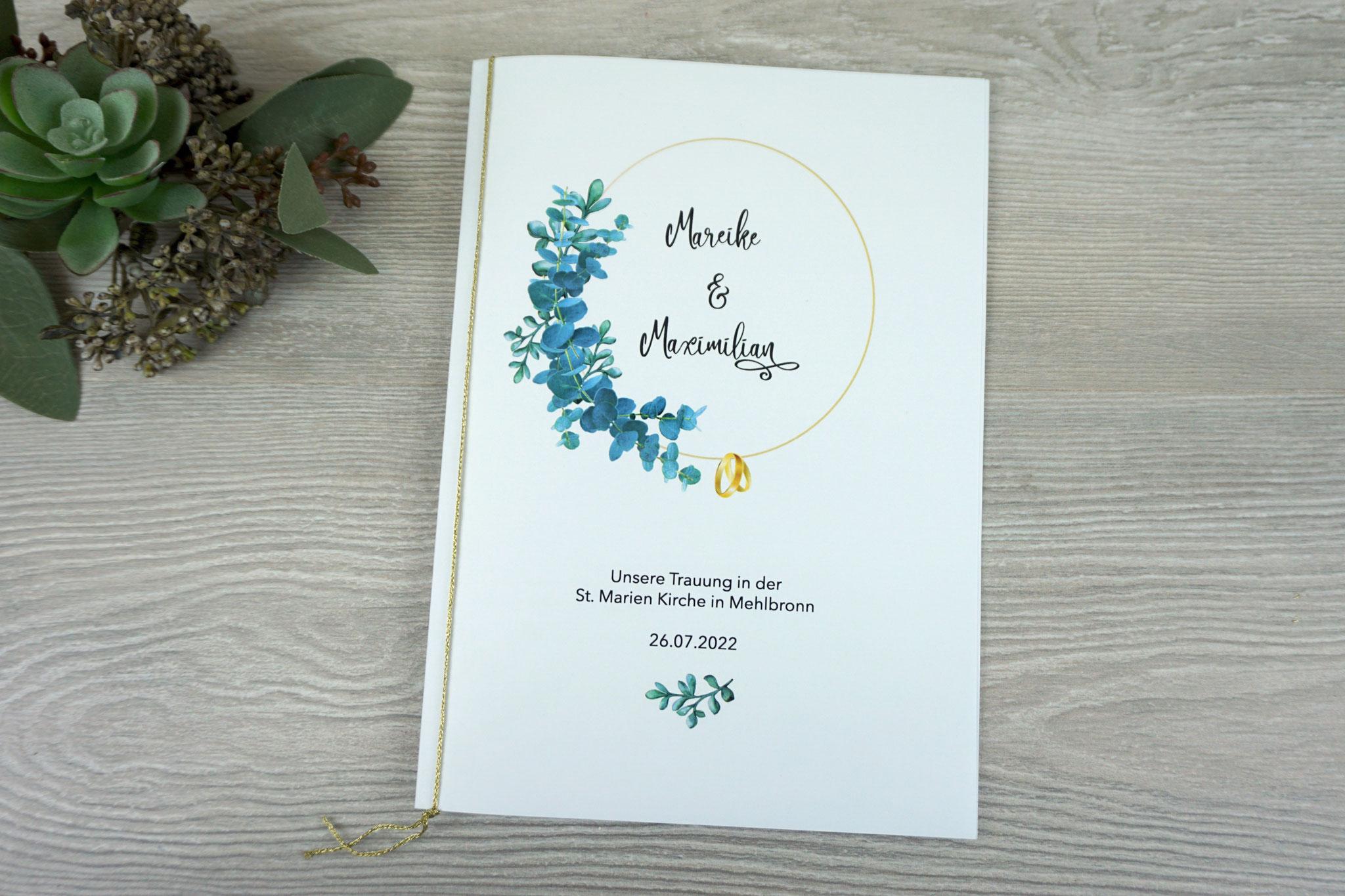 """Kirchenheft Variante """"mit einem Einlegeblatt & Bindung"""" - Design """"Eukalyptus goldfarben"""", Schrift Camellia"""