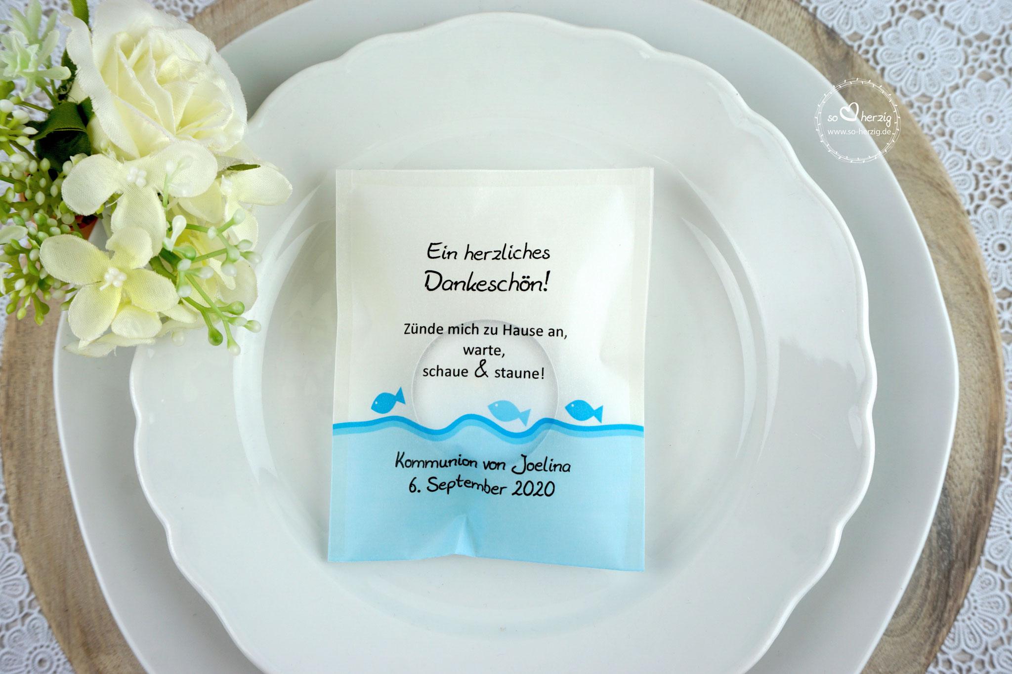 Teelicht-Botschaft Design Fische Blau - Schrift Julius B Thyssen