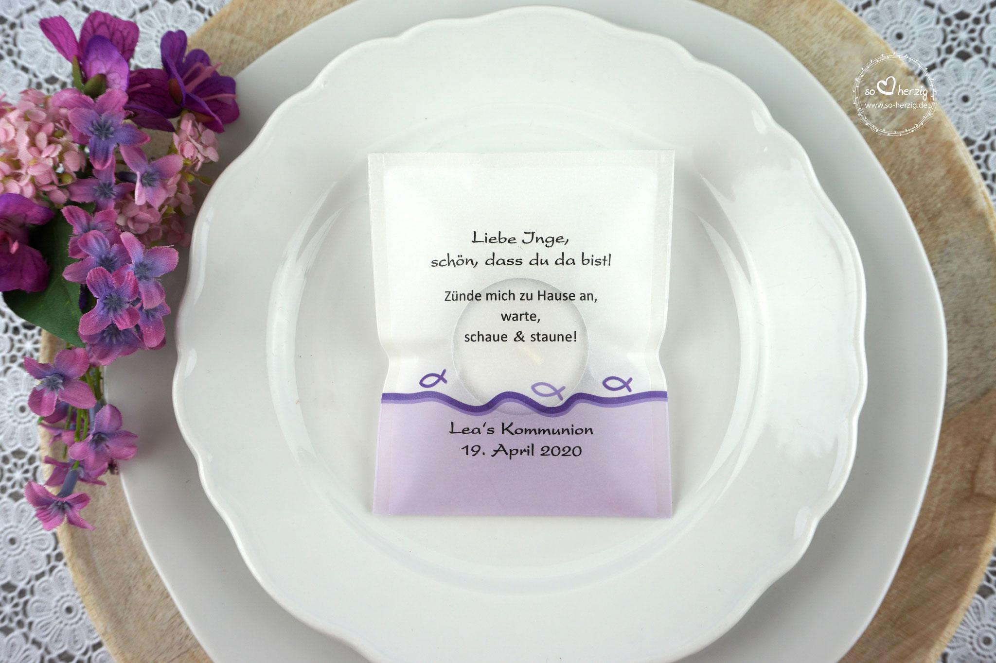 "Licht-Botschaft ""Verpackung als Platzkarte"",  Design ""Fisch Silhouette"" Lila"