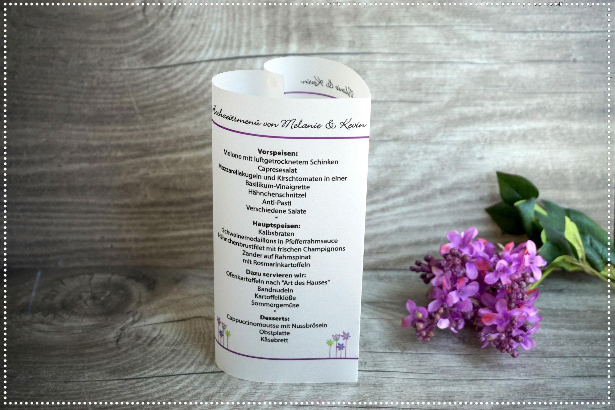 Menükarte Herz 17cm, Design Blumenwiese, Farbe Lila, Schrift Bickley Script Com