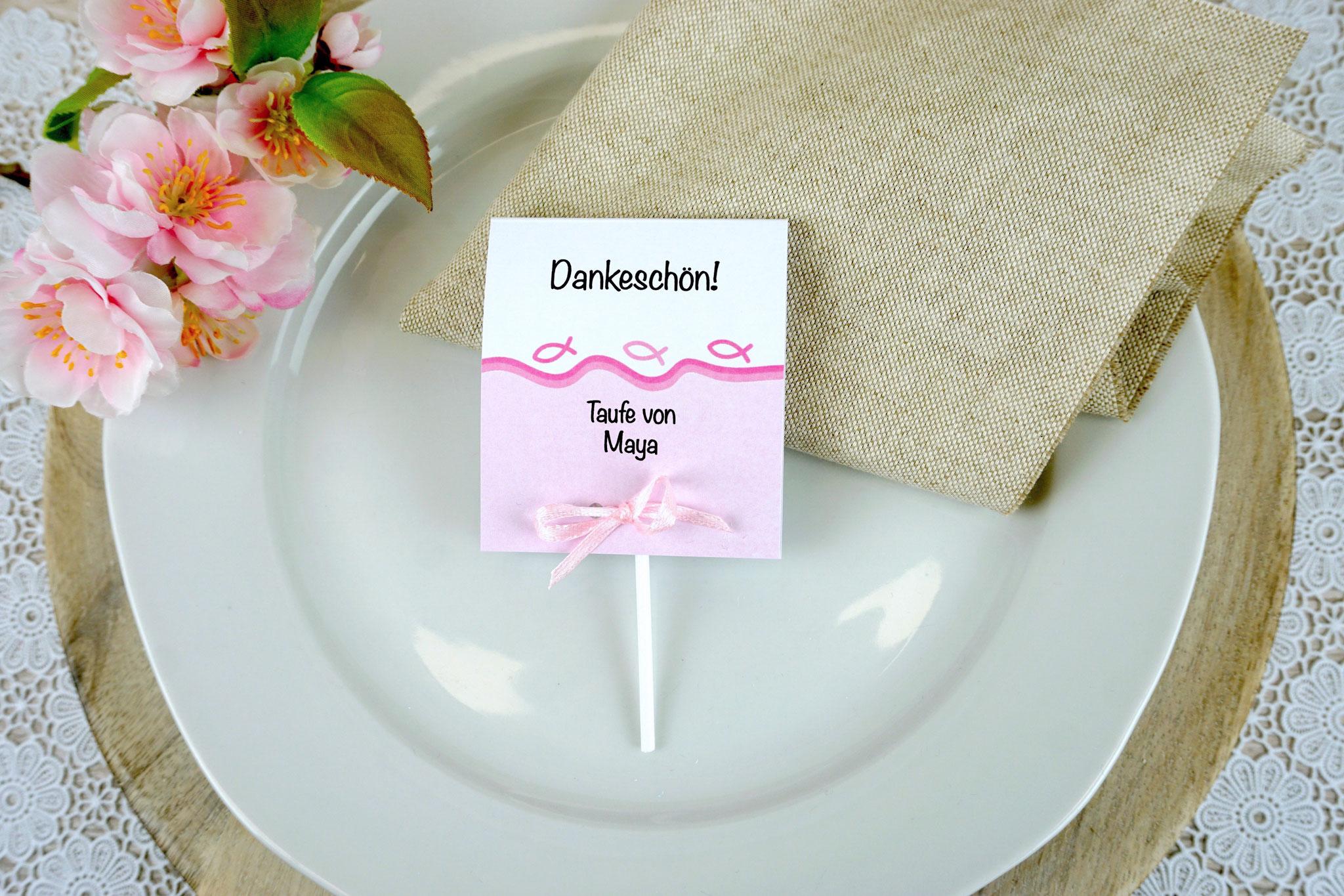 Lutscher Design Fisch Silhouette Rosa - Schrift Noteworthy
