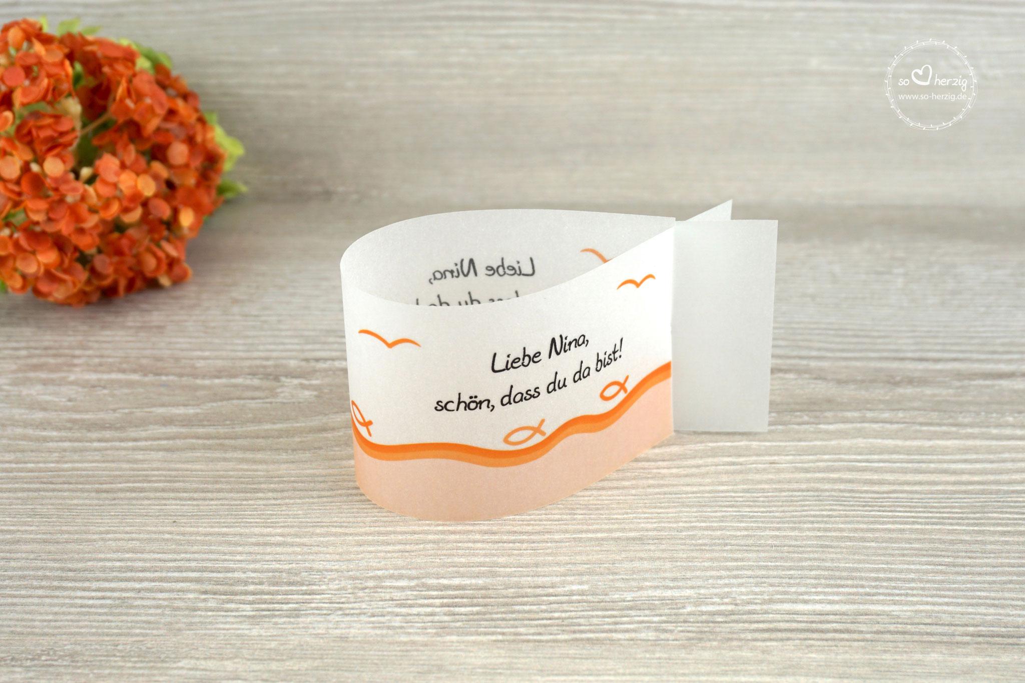 Platzkarte Fischform, Design Fisch Silhouette Orange - Sonderwunsch Möven