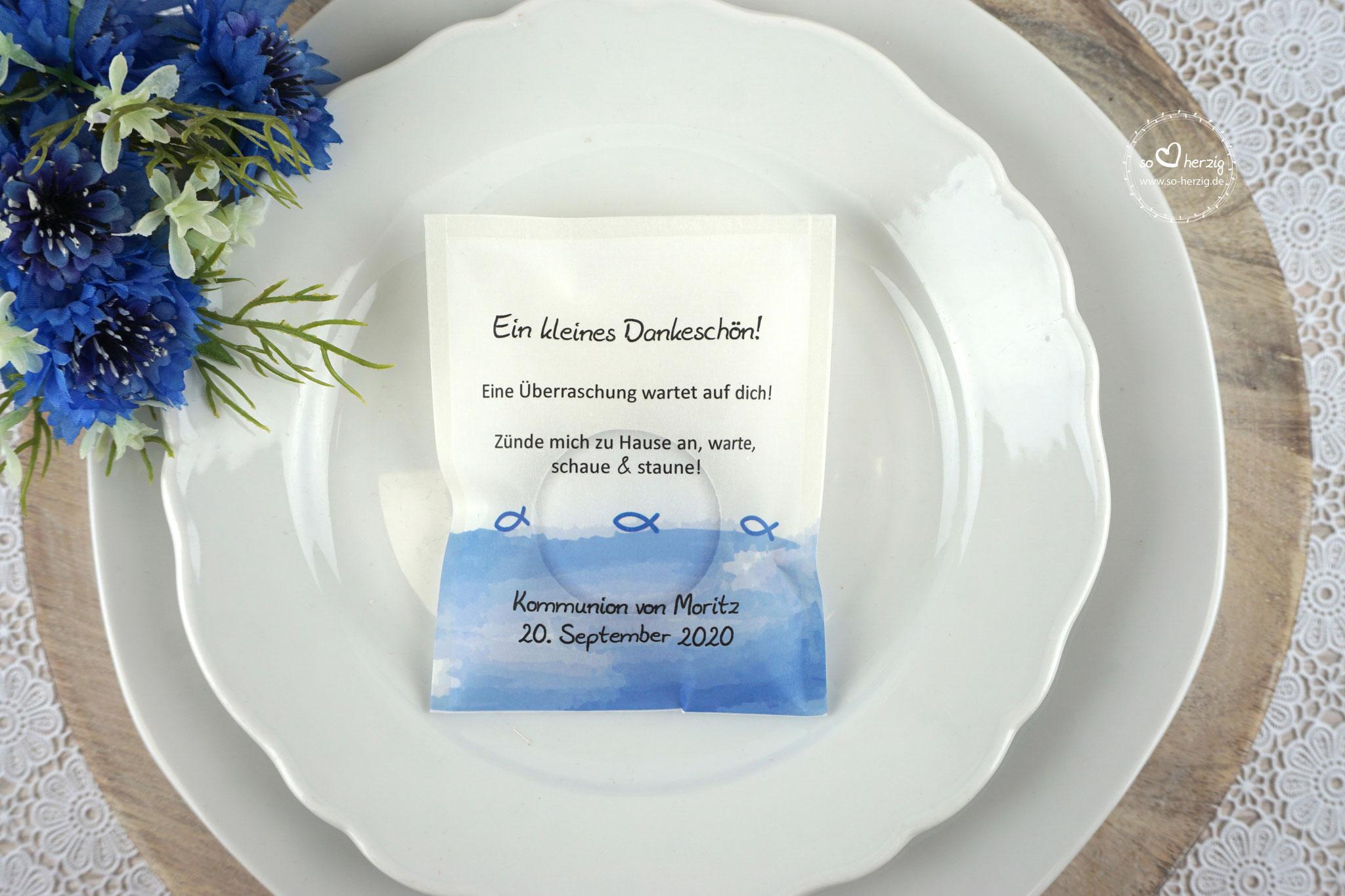 Licht-Botschaft  Design Aquarellband/Fische Royalblau