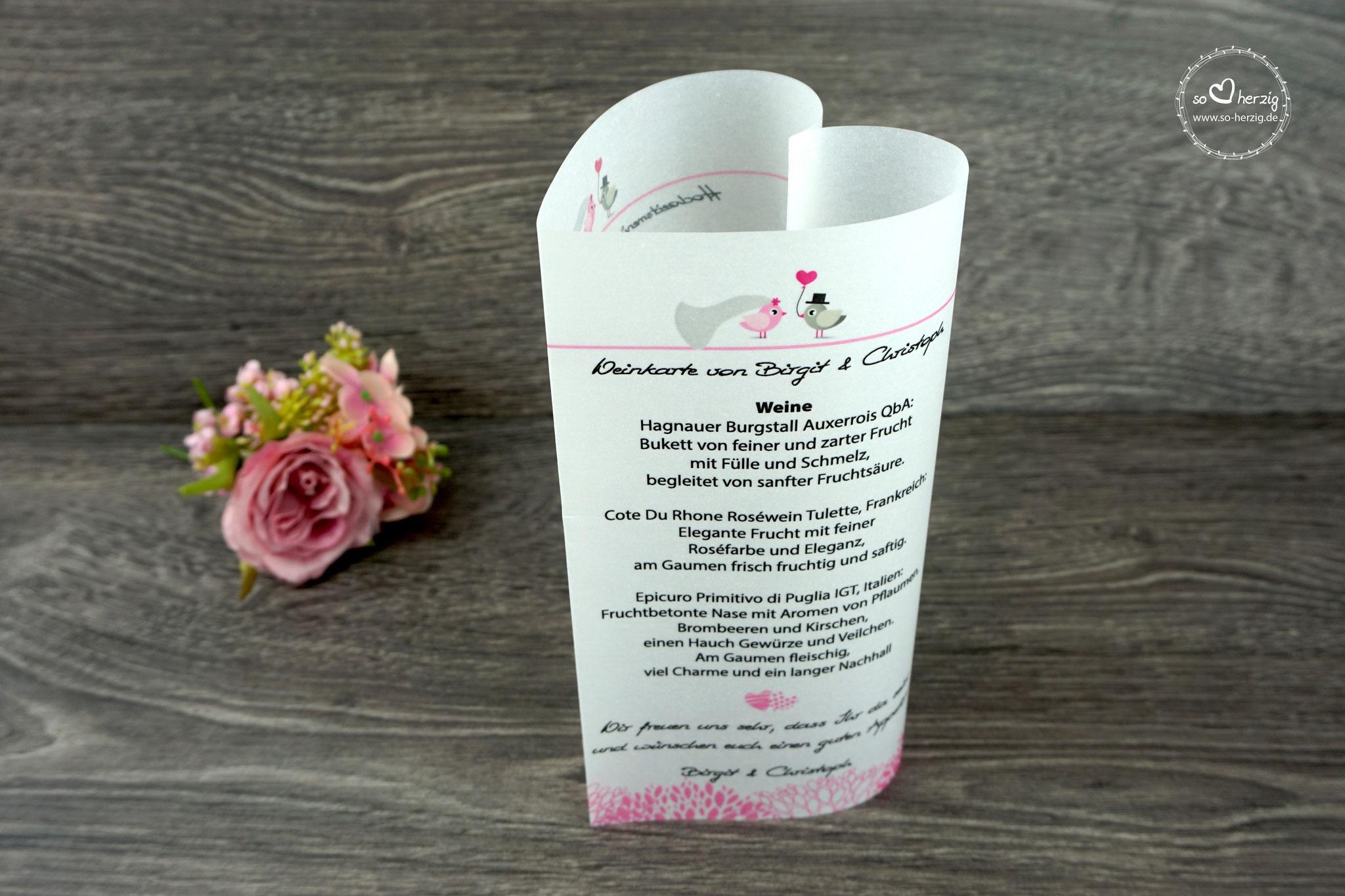 Menü,- und Getränkekarte 17cm, Design Hochzeitsvögel, Farbe Graubraun/Rosa, Schrift Wip First Lady