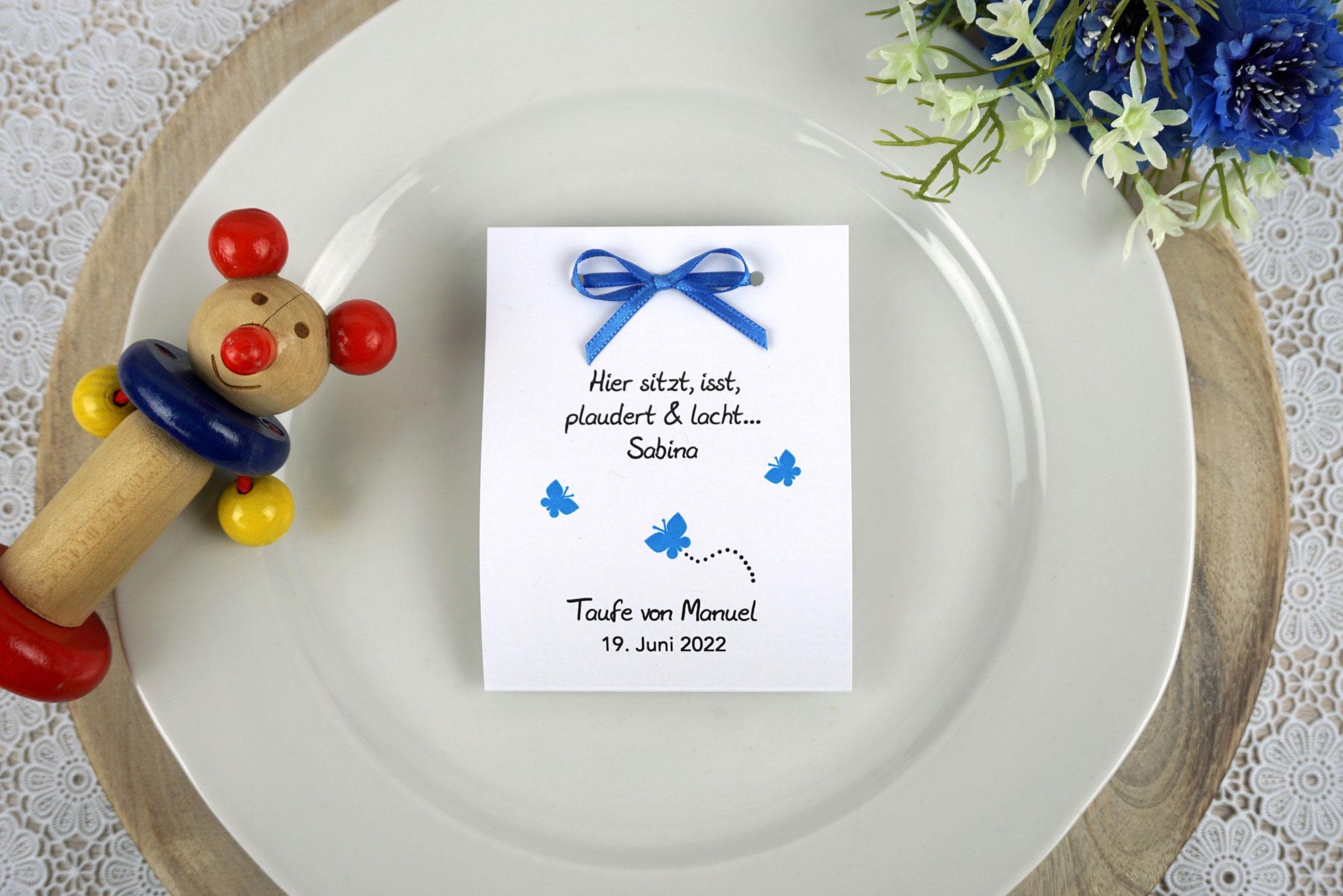 Fruchtgummi Design Schmetterlinge Blau - Schrift Julius B Thyssen