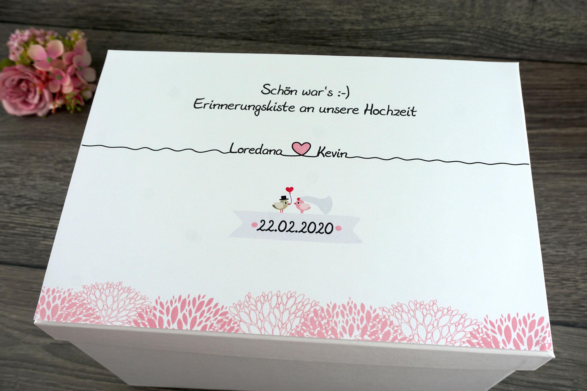 Erinnerungskiste Design Blätter Rosa