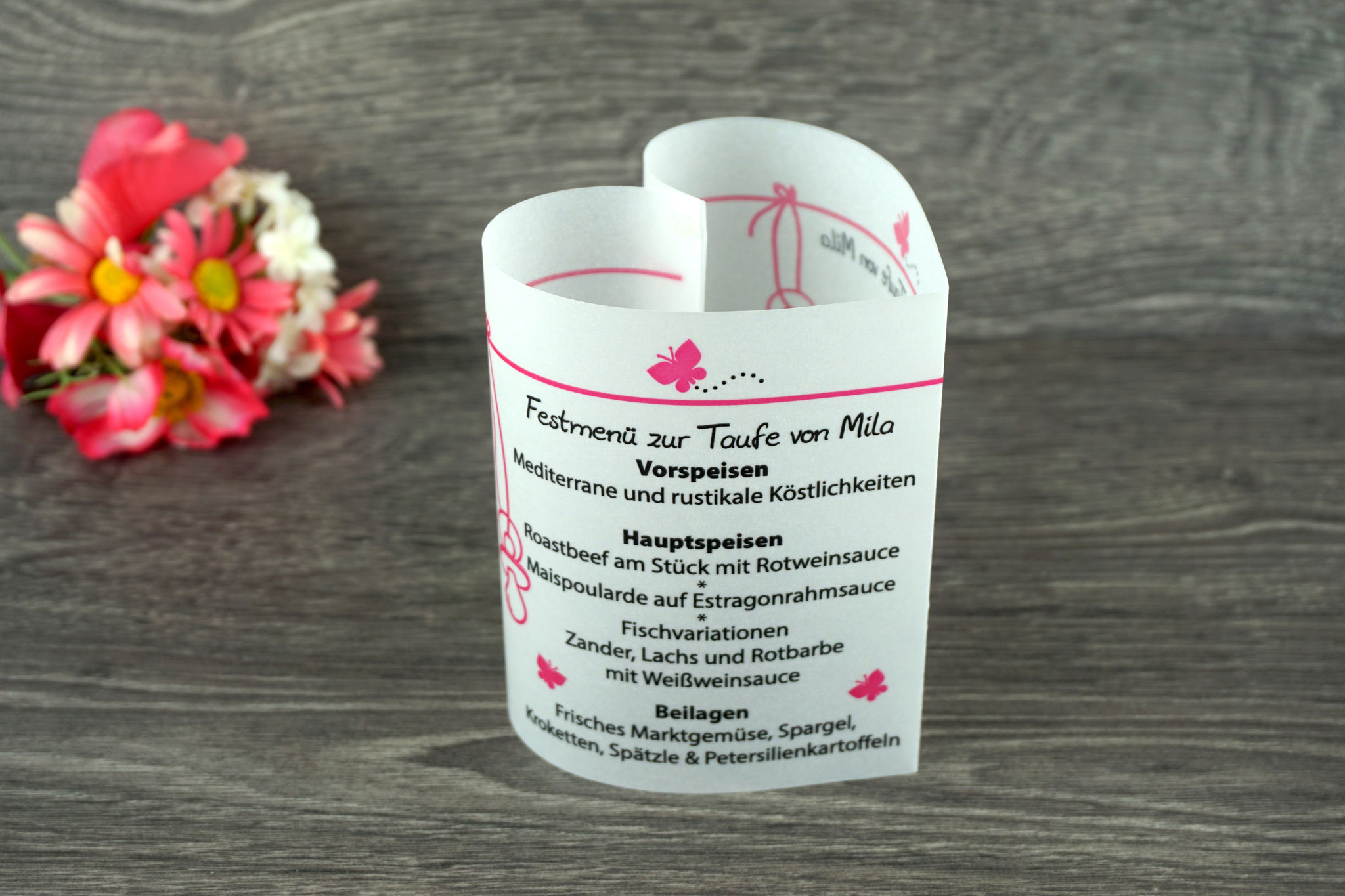 Menükarte Taufe 10,5cm, Design Schmetterlinge, Farbe Pink