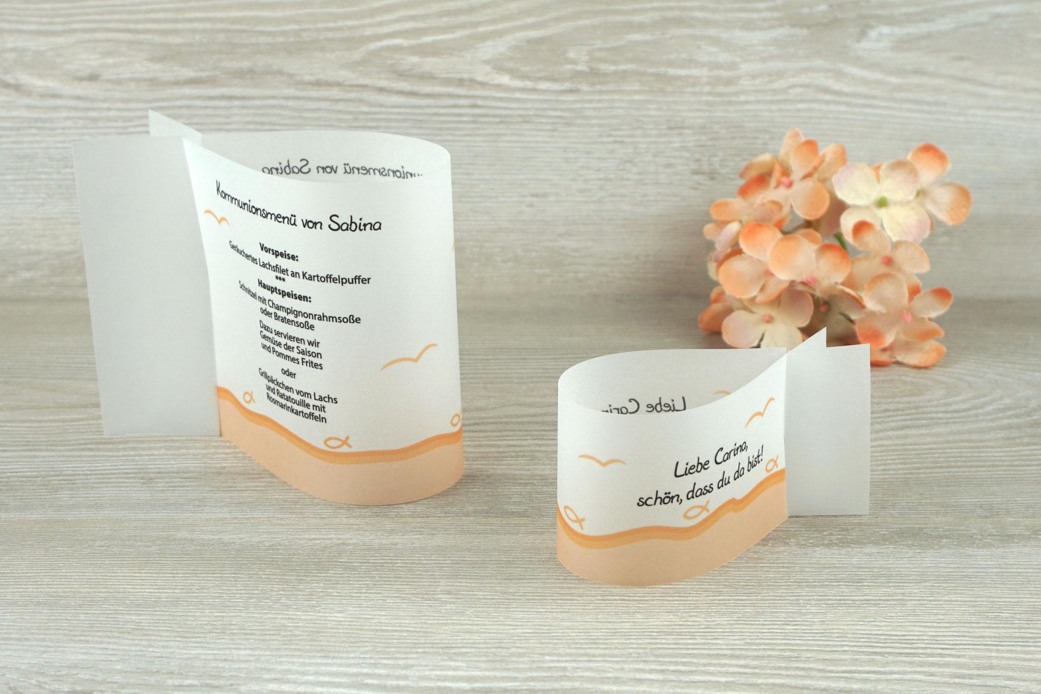 Menükarte & Platzkarte Fischform, Design Fisch Silhouette Apricot - Sonderwunsch Möven