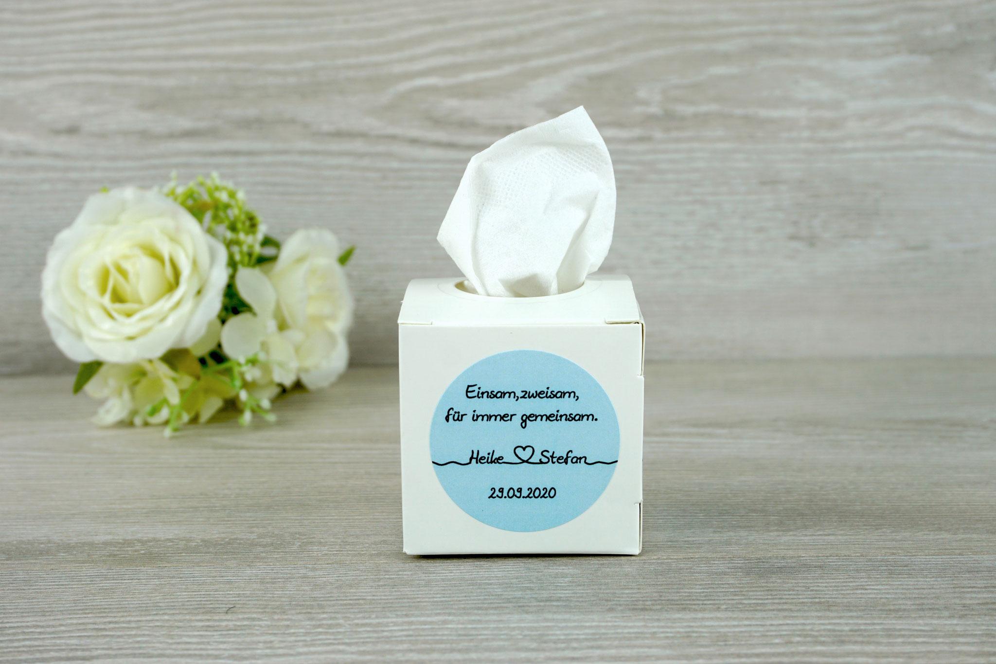 """Freudentränen Box Weiß, fertig gestaltet, Aufkleber """"Für immer"""" Hellblau,"""