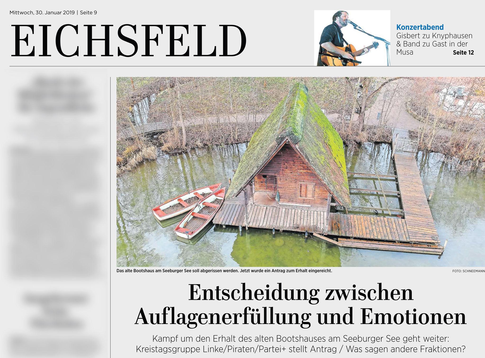 Eichsfelder Tageblatt 30.01.2019 Antrag auf Erhalt des Bootshaus am Seeburger See