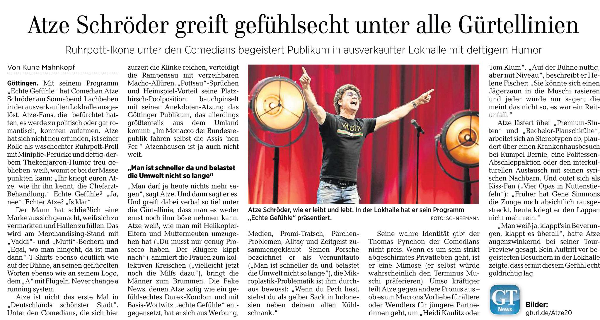 """Göttinger Tageblatt: Atze Schröder spielt """"echte Gefühle"""" in der Lokhalle Göttingen"""