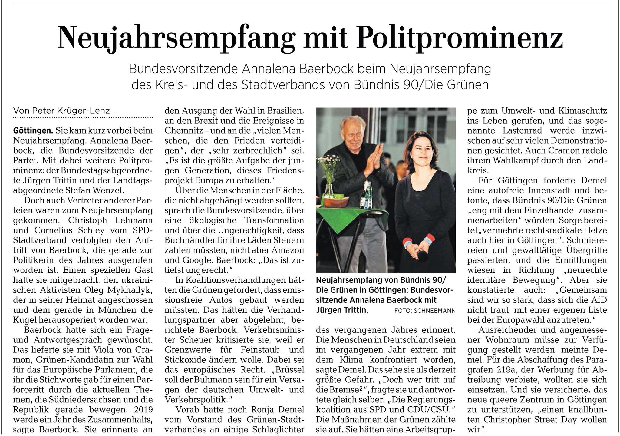 Göttinger Tageblatt: Neujahrsempfang Bündnis90/Die Grünen in Göttingen mit der Bundesvorsitzenden Annalena Baerbock und Jürgen Trittin
