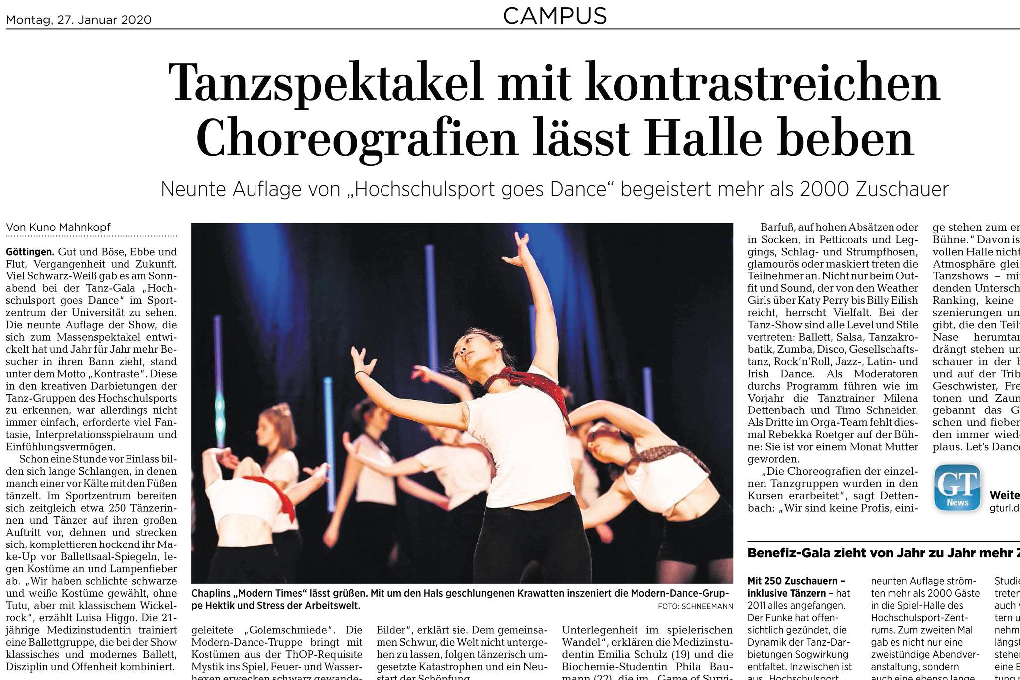 Göttinger Tageblatt. Tanzgala des Hochschulsport der Universität Göttingen