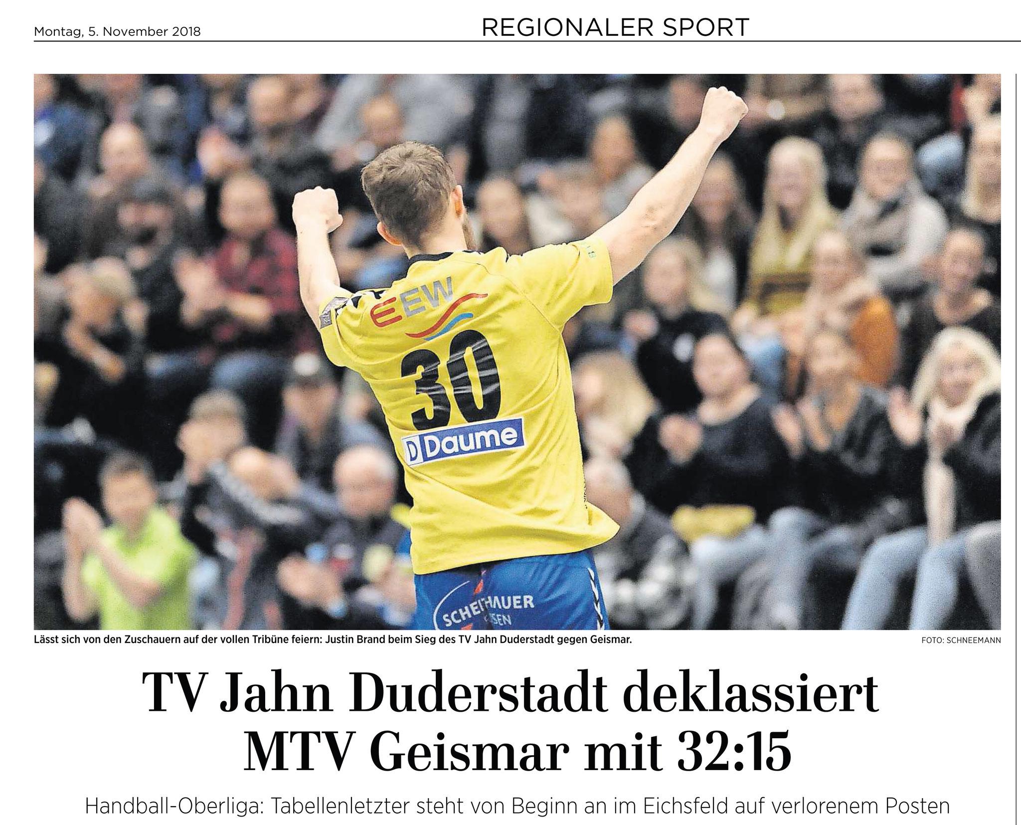 05.11.2018 Göttinger Tageblatt. Handball Verbandsliga. Derby TV Jahn Duderstadt vs MTV Geimsar 32:15