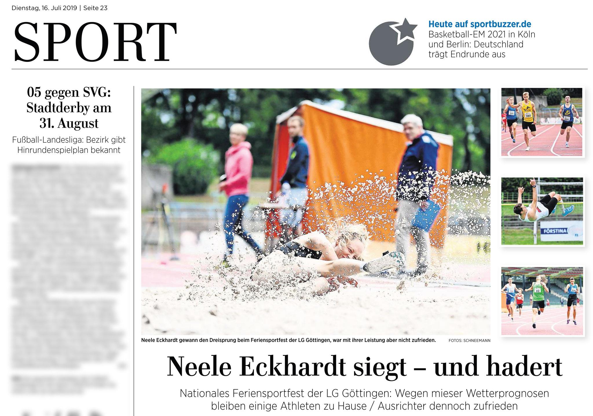Göttinger Tageblatt 16.07.2019: Feriensportfest der LG Göttingen