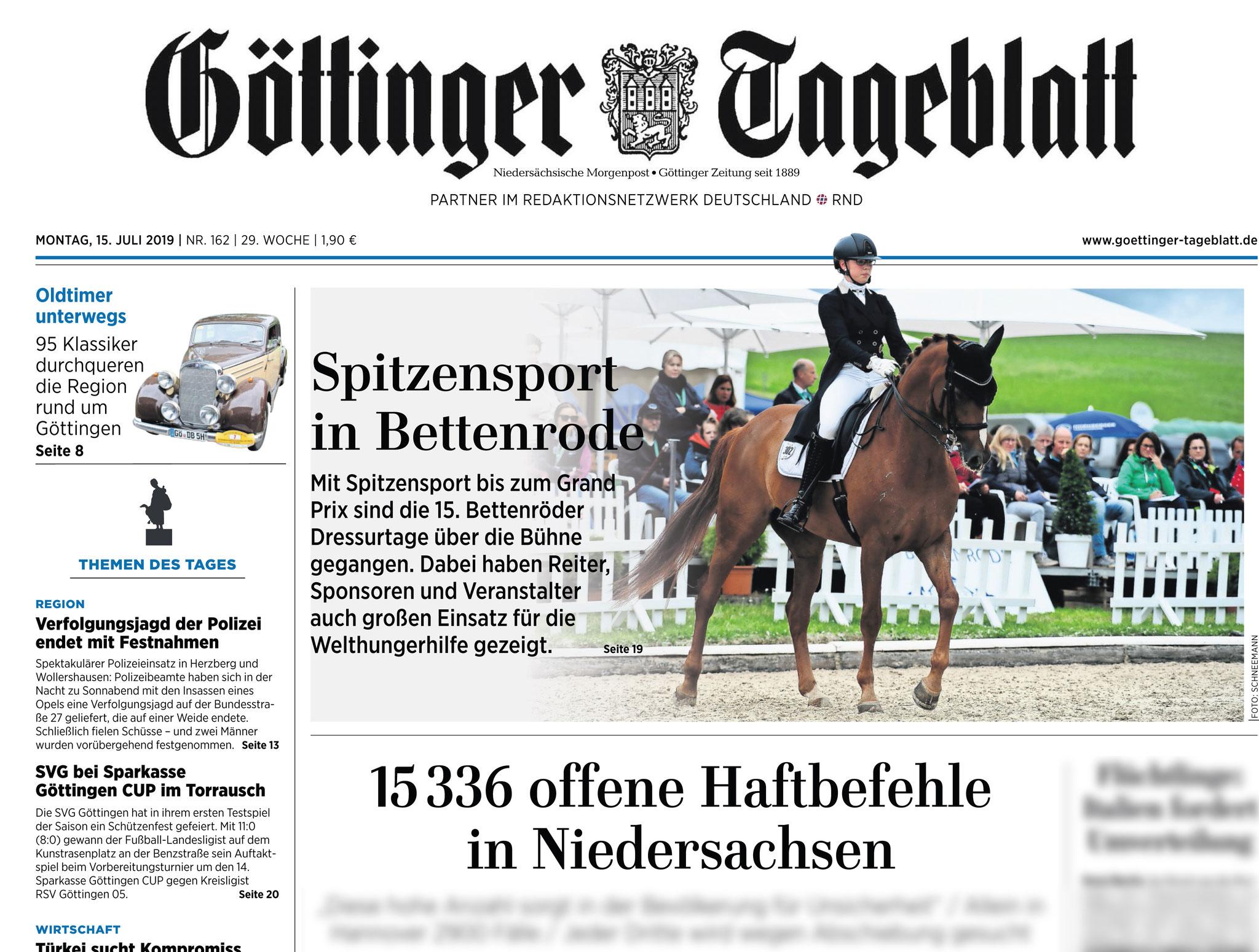Göttinger Tageblatt, Titelfoto 15.07.2019: Bettenröder Dressurtage 2019