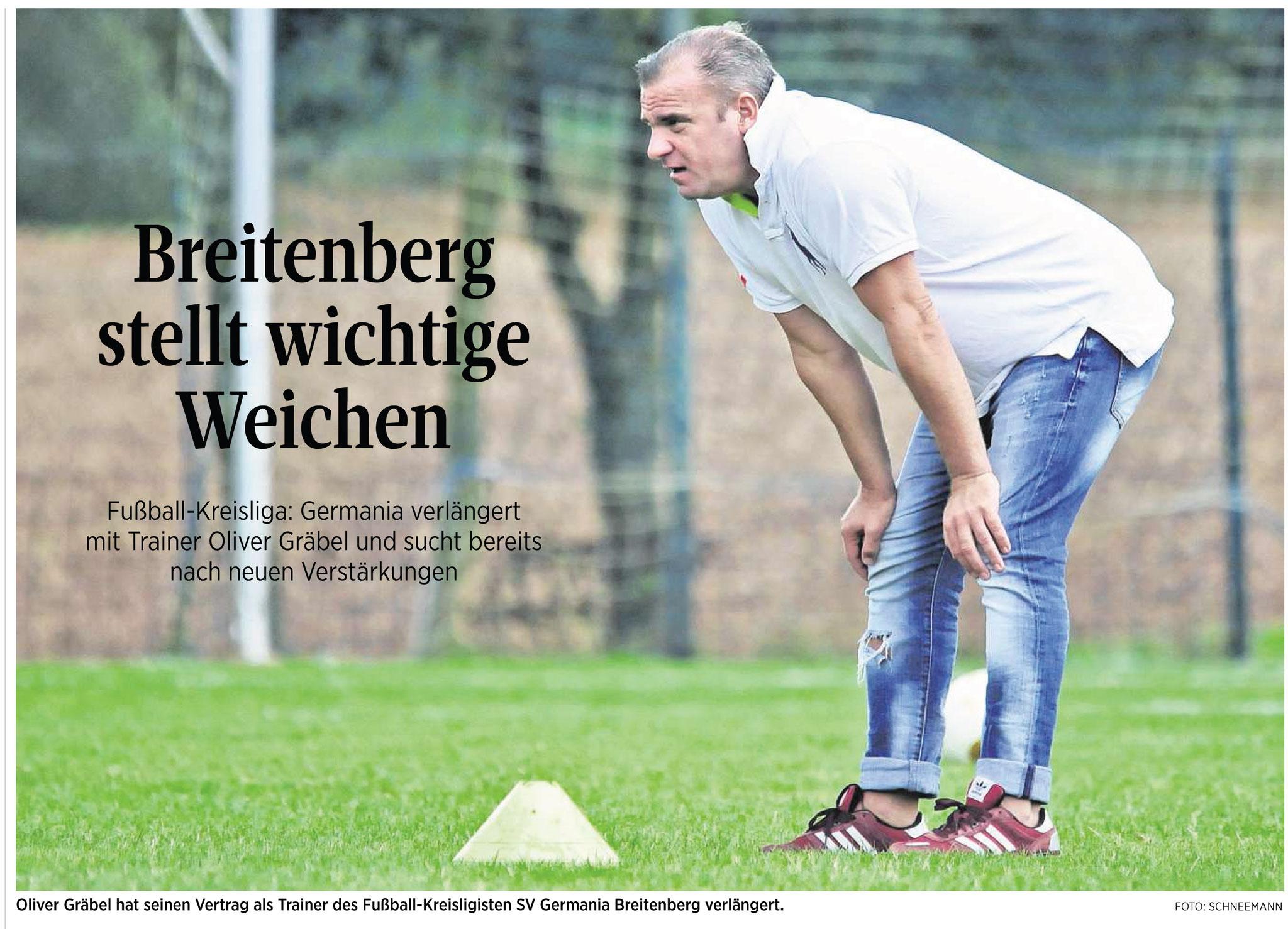 Trainer Oliver Gräbel verlängert bei Kreisligist Germania Breitenberg (Eichsfelder Tageblatt)