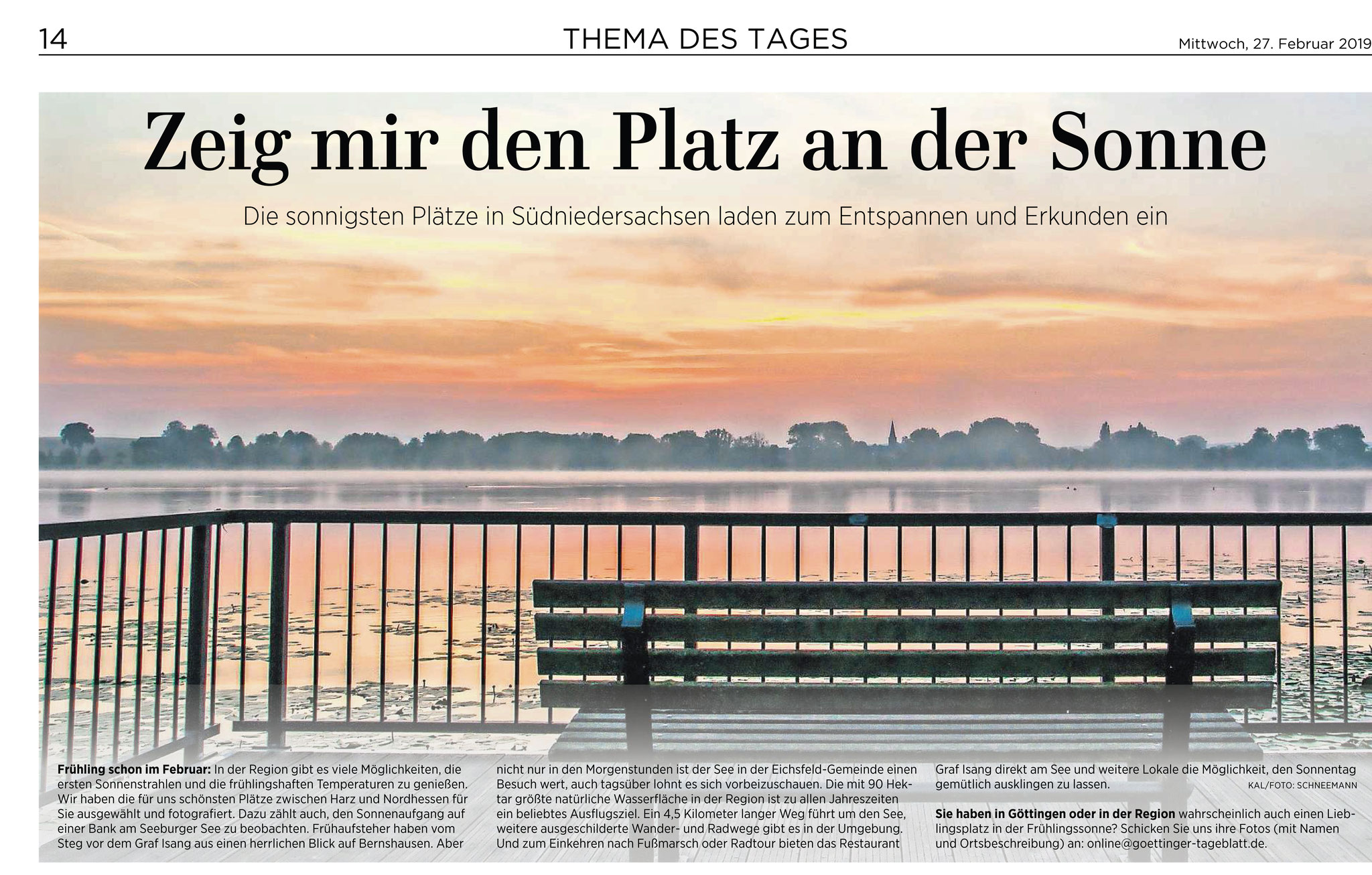 Thema des Tages Göttinger Tageblatt / Eichsfelder Tageblatt: Sonnenaufgang am Seeburger See