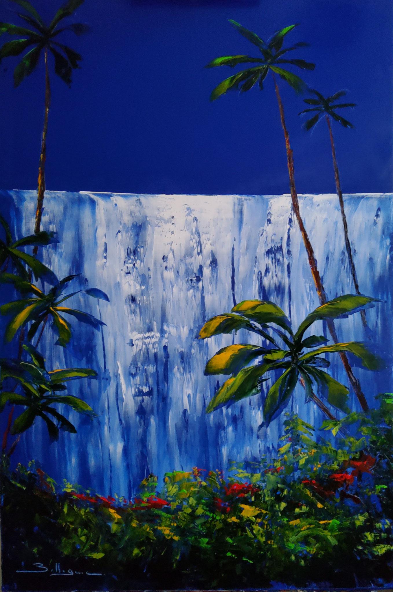 alain-belleguie-Rain-Forest  Huile /toile 84 cm x 51 cm