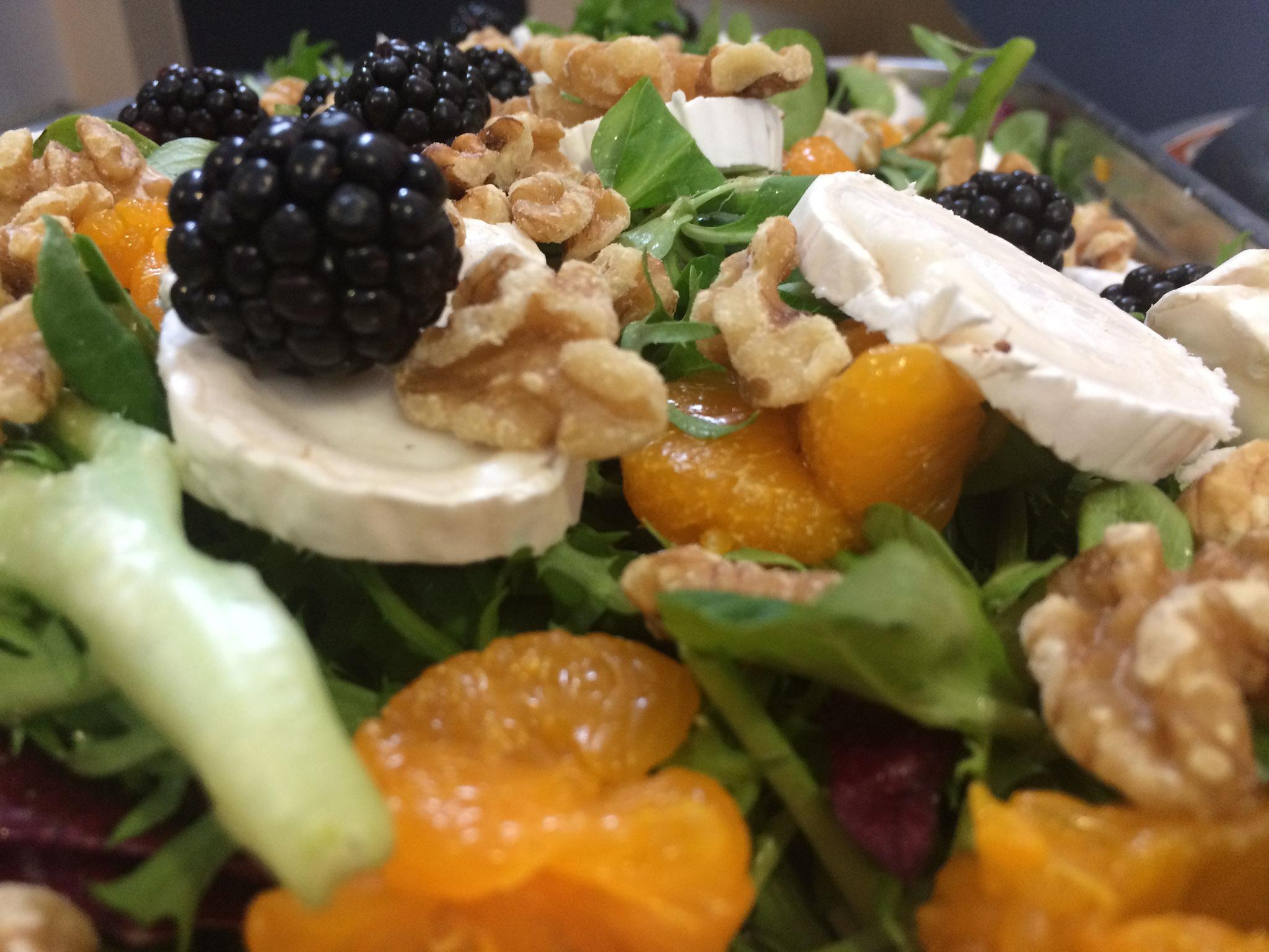 Feldsalat mit Orangenfilets, Ziegenkäse, Walnüssen und Johannisbeeren