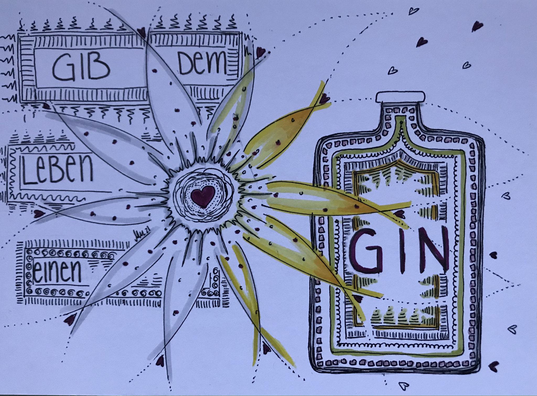 Eine Karte für eine Gin-Liebhaberin
