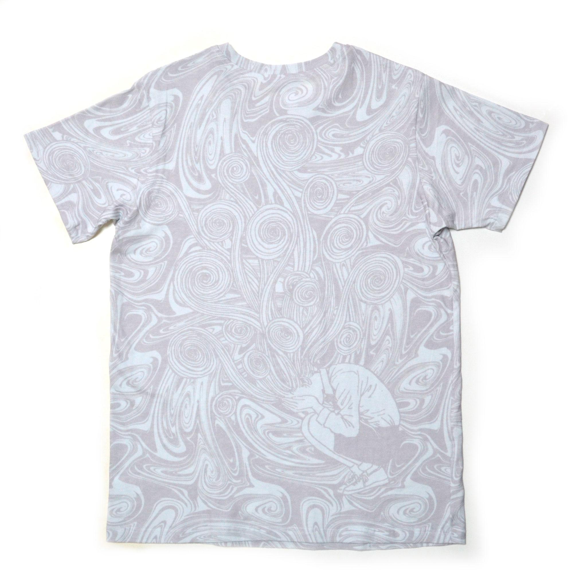 桐絵うずまき総柄Tシャツ-P- (WHITE×GRAY) 背面